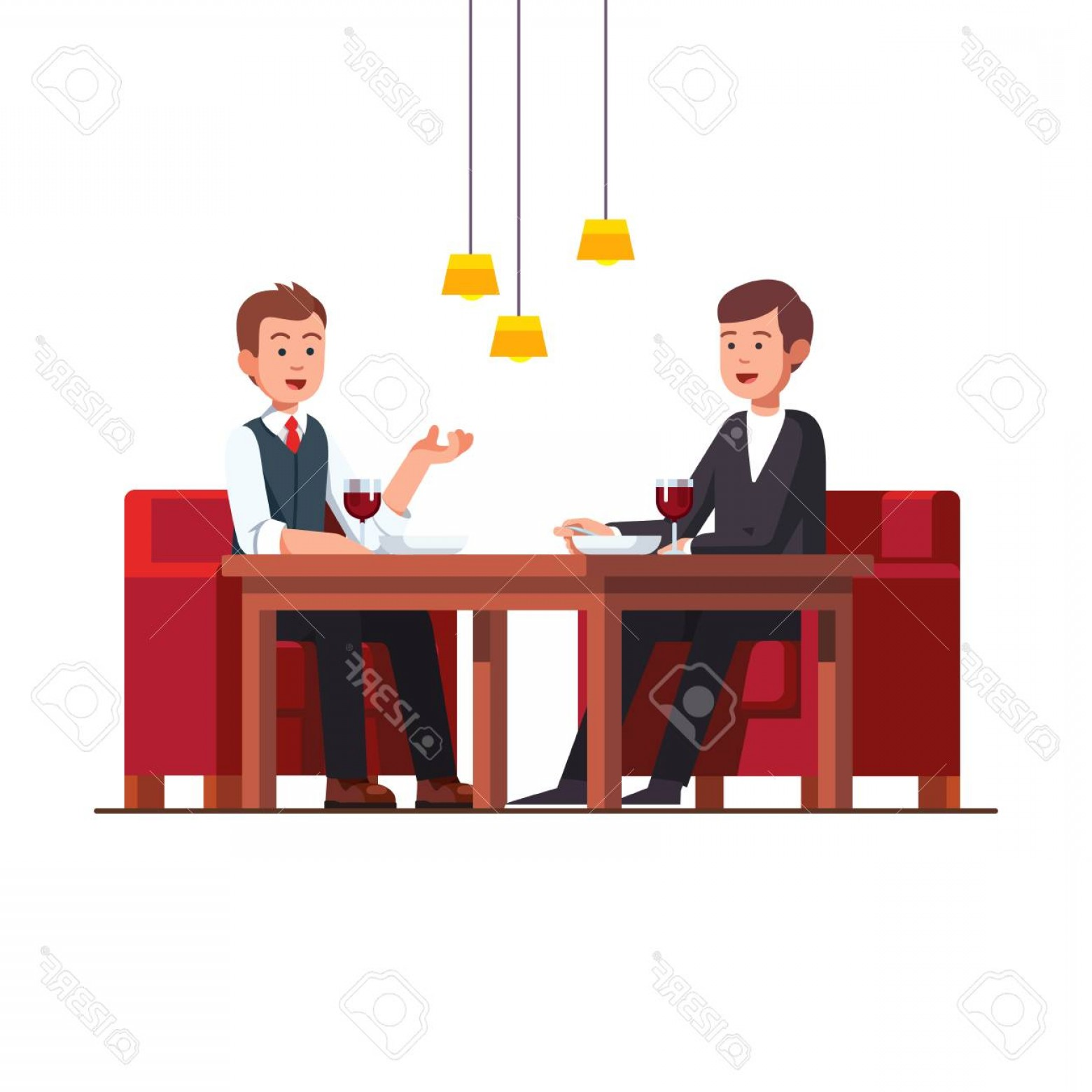 Business Lunch Clip Art Vector: Photostock Vector Two Business Man Eating Lunch At Restaurant Vector Illustration