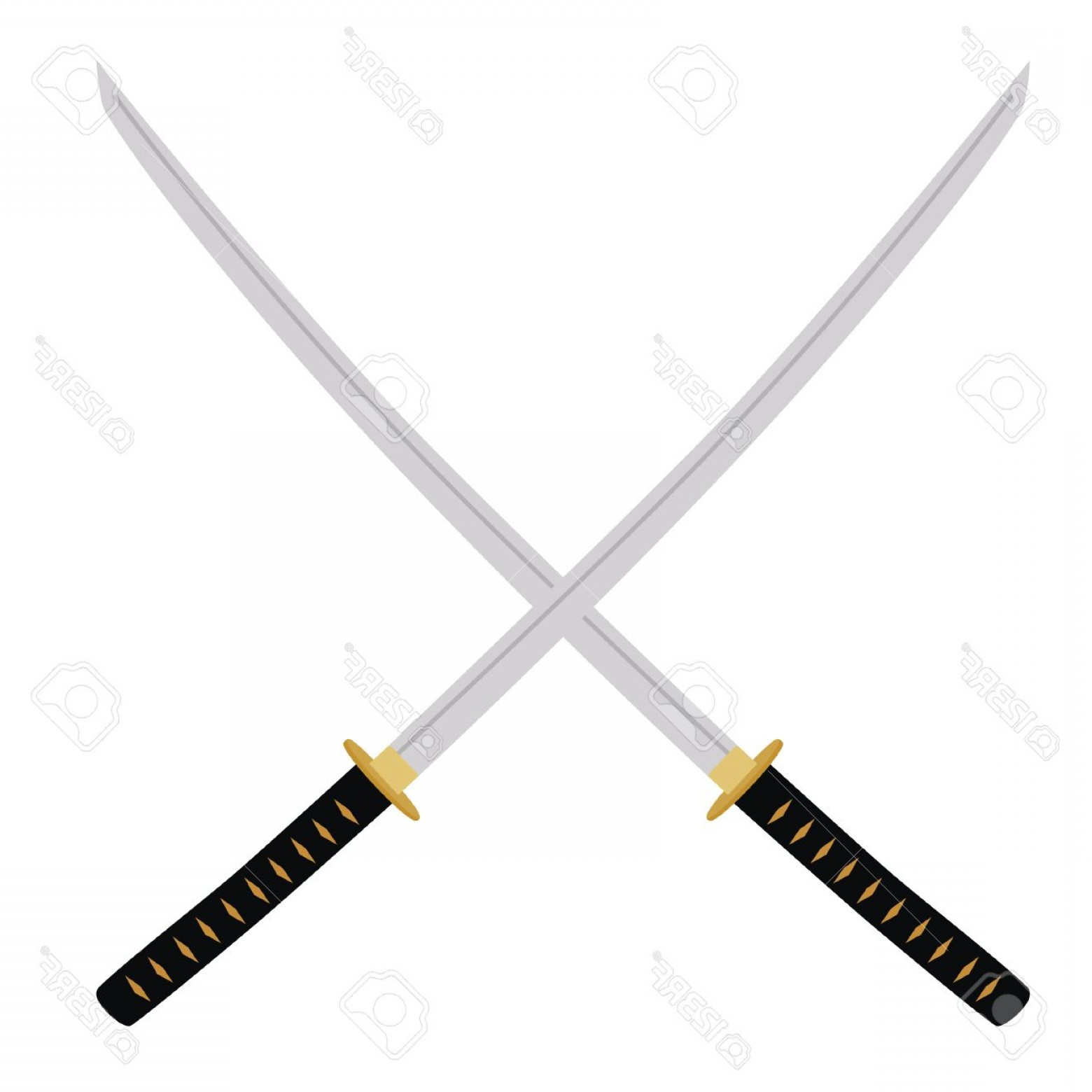 Samuri Sword Vector: Photostock Vector Two Crossed Katana Swords Vector Illustration Samurai Sword Traditional Asian Ninja Weapon