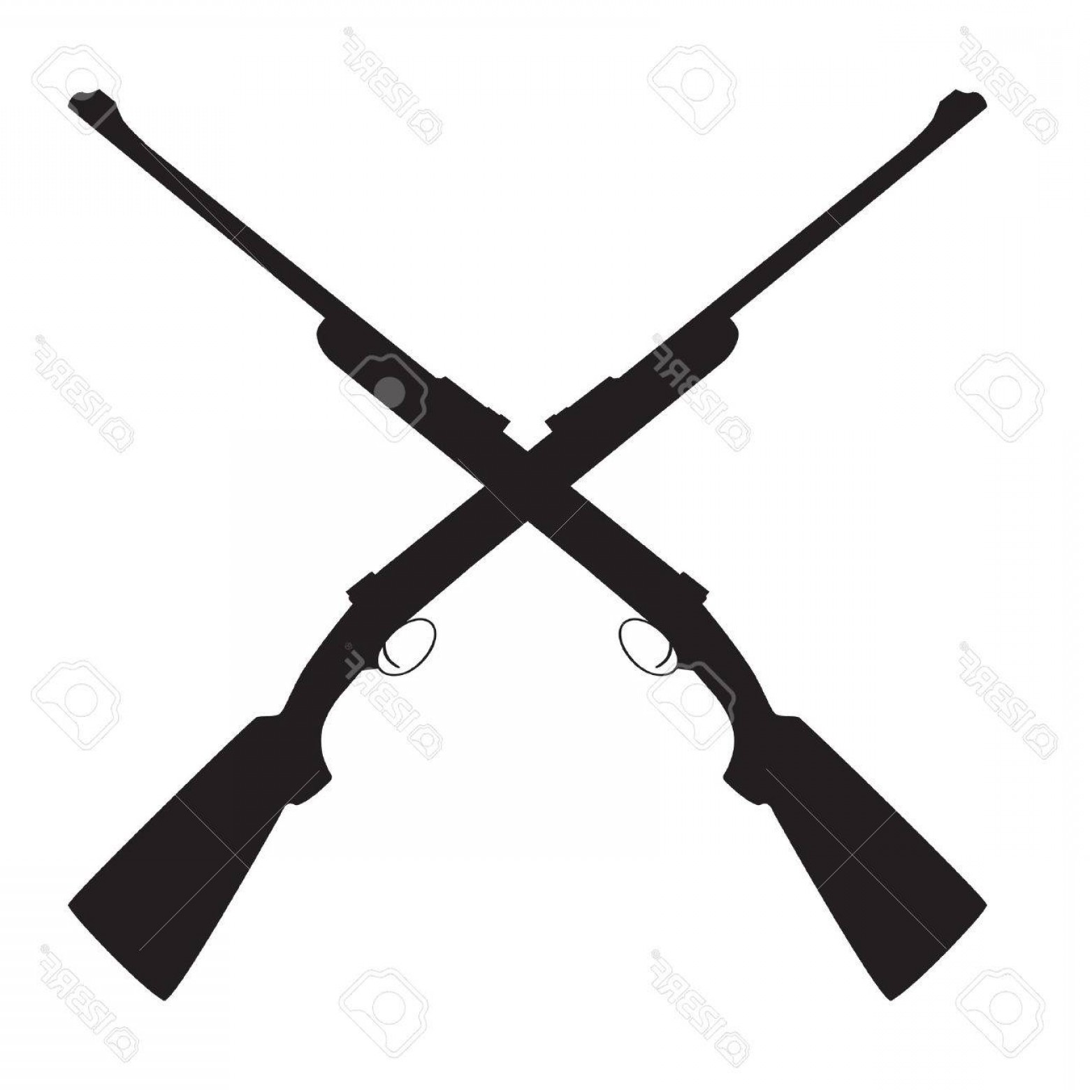 Hunting Rifle Vector Cross: Photostock Vector Two Crossed Rifle Vector Illustration Hunting Rifle Sniper Rifle Old Rifle Revolution Symbol