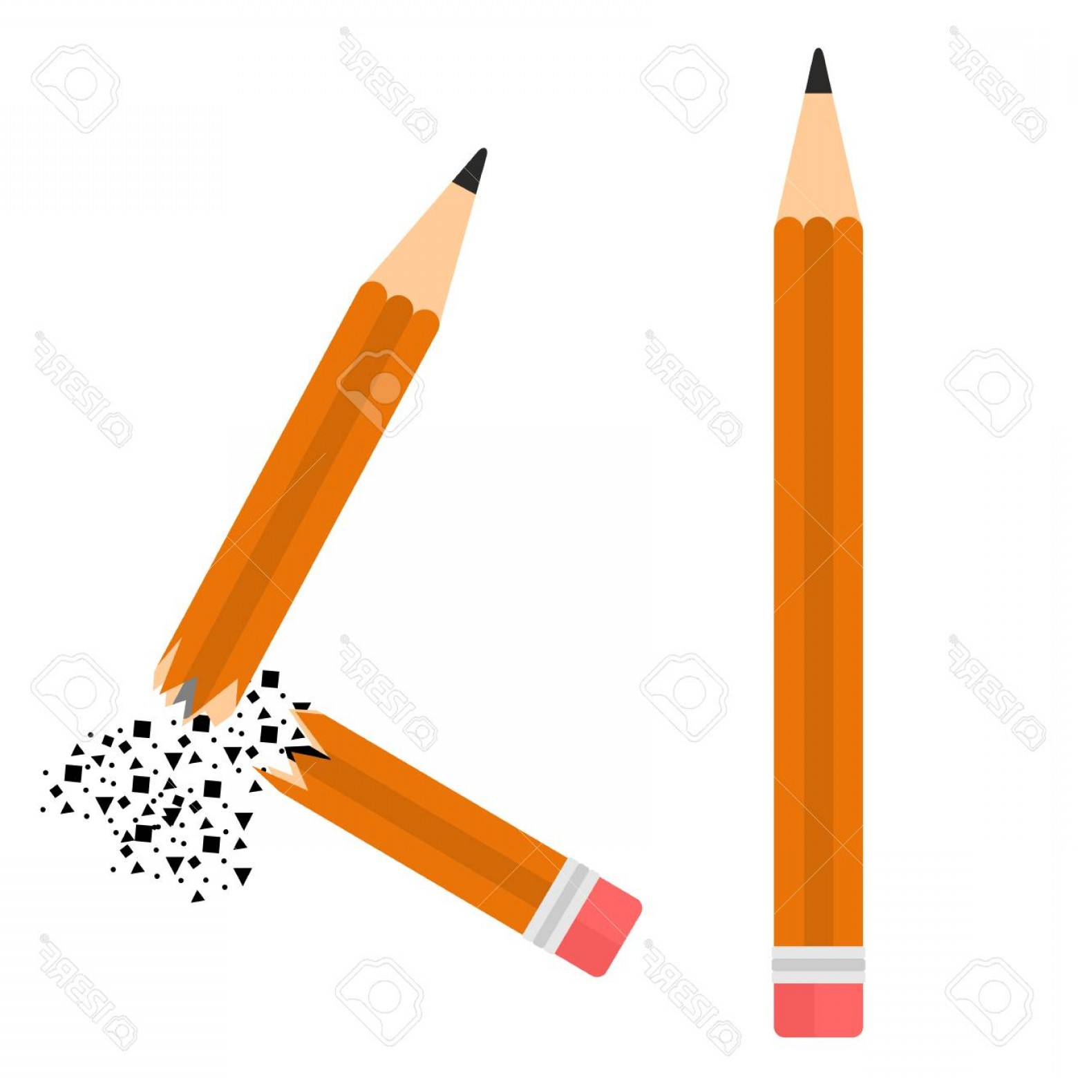 Broken Pencil Vector: Photostock Vector Two Pencil Image Flat Whole And Broken Pencil Vector Cartoon Illustration Objects Isolated On A Whit