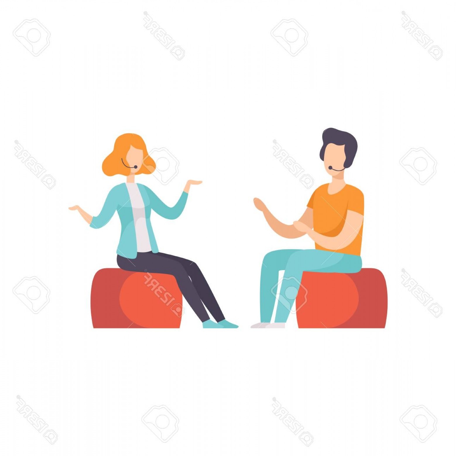 Talk Show Vector: Photostock Vector Two People Talking In A Tv Studio Television Interview Talk Show Vector Illustration On A White Back