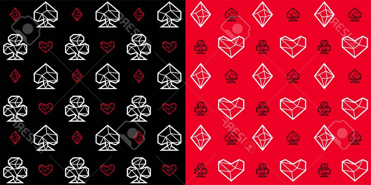 10 Playing Card Vector: Photostock Vector Two Seamless Patterns Of Playing Card Suits Signs Black And Red Background Triangle Style Eps