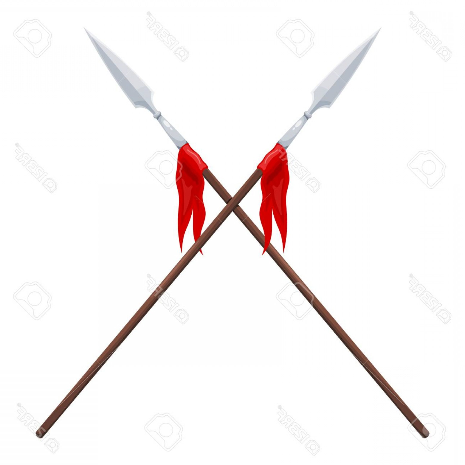 Pike Spear Vector: Photostock Vector Two Spears On A White Background Vector Illustration Of Crossed Traditional Spears With A Red Flag