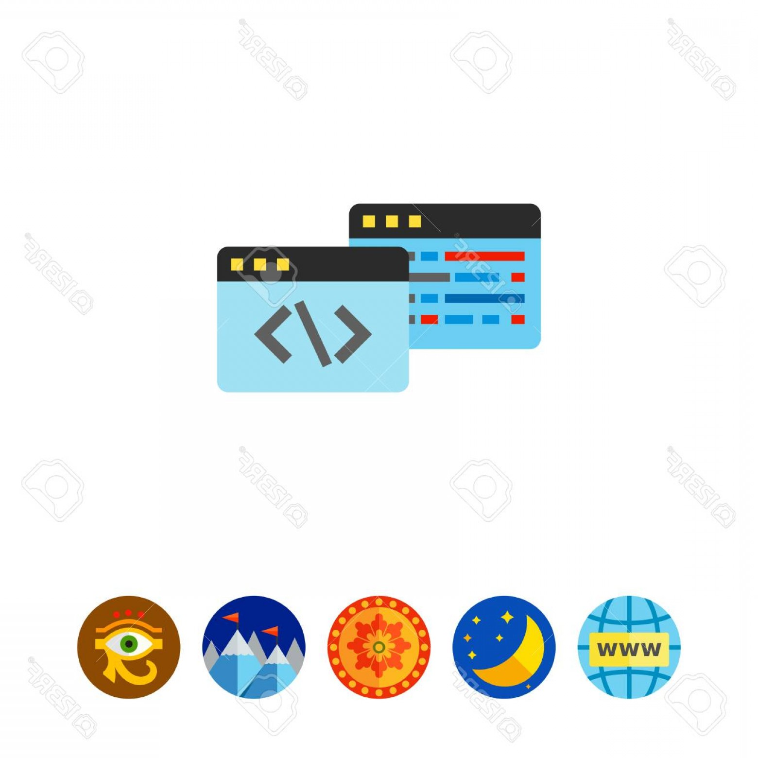 Windows 8 Phone Icon Vector: Photostock Vector Two Windows With Code Symbols Digital Data Algorithm Coding Concept Can Be Used For Topics Like Prog