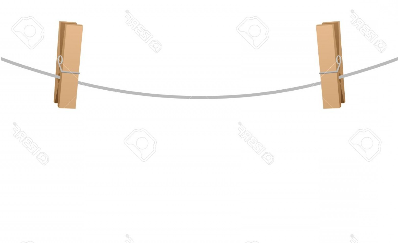 Vector Clothes Pins: Photostock Vector Two Wooden Clothespins Clipped On A Clothesline Rope