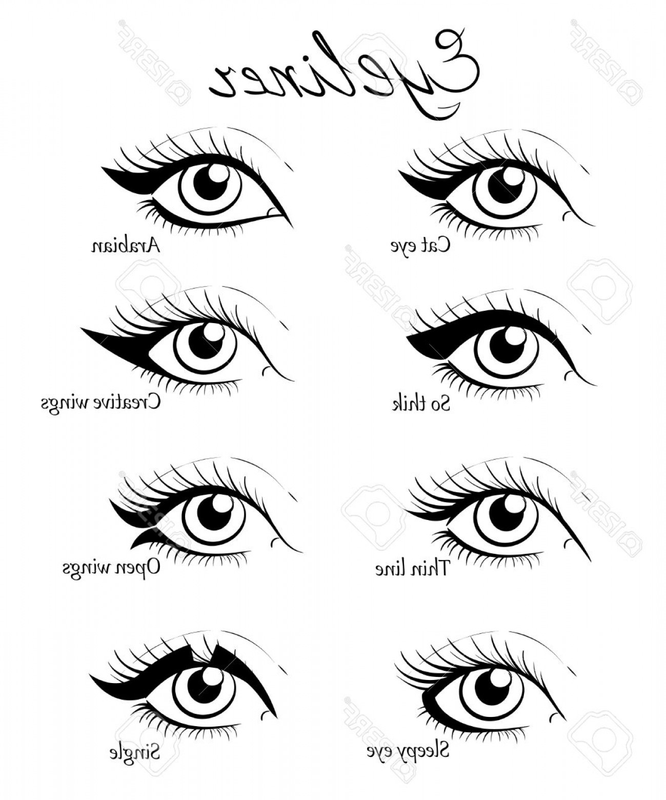 Vector Illustration Eyes Makeup: Photostock Vector Types Of Eye Makeup Cat Eyeliner Tutorial Hand Drawn Illustration Of Eyebrow Line Make Up Sketches I