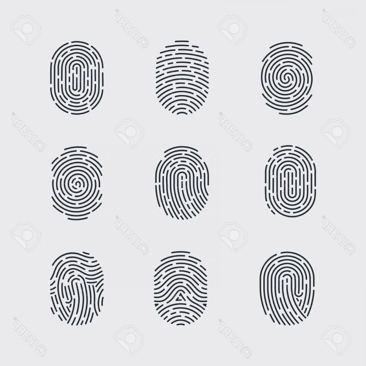 Security Vector Patterns: Photostock Vector Types Of Fingerprint Patterns For Identity Person Security Id On Gray Background For Design
