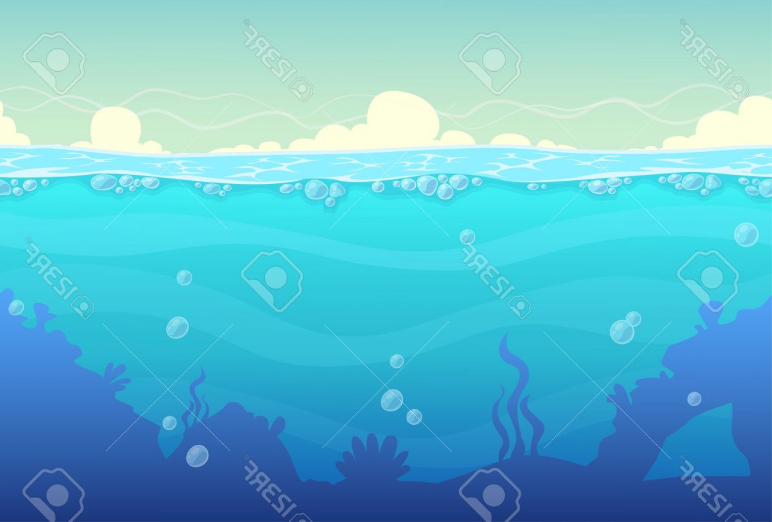 Underwater Sea Vector Art: Photostock Vector Underwater Cartoon Seamless Landscape Sea Vector Background