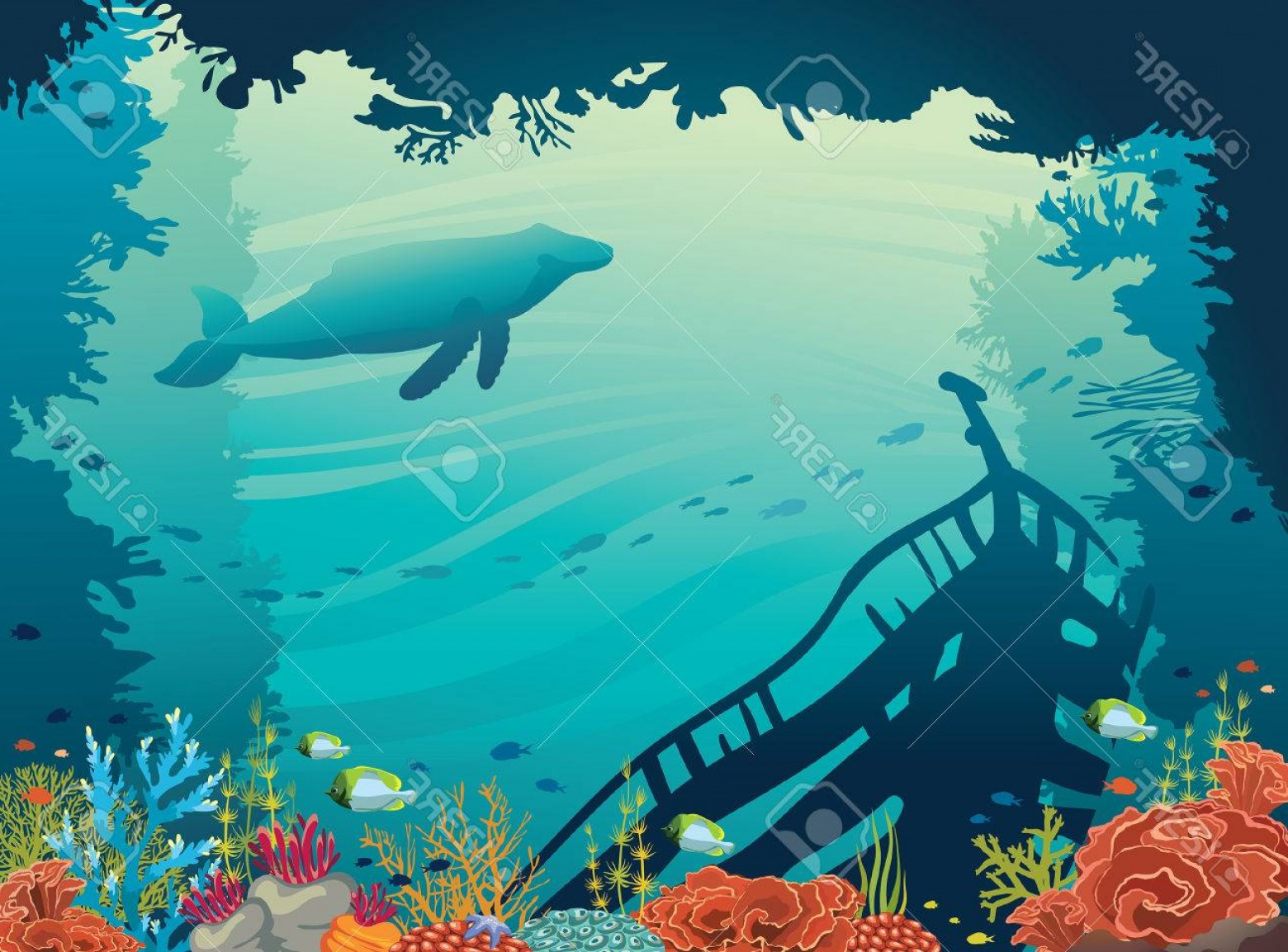 Underwater Sea Vector Art: Photostock Vector Underwater Vector Illustration Silhouette Of Sunken Ship Coral Reef Fish And Whale On A Blue Sea Mar