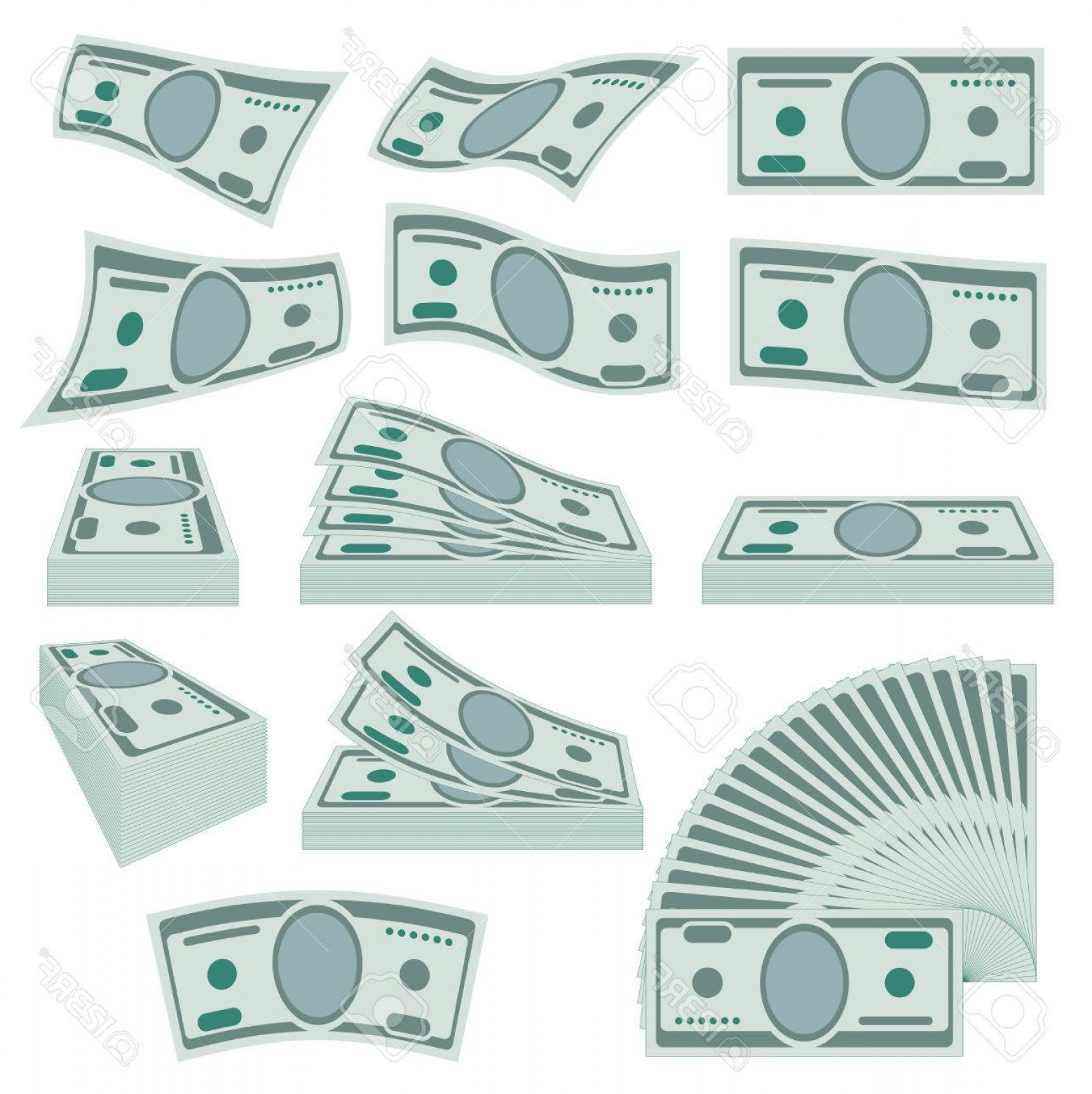 Hundreds Of Money Stacks Vector: Photostock Vector Us Dollars Money Stacks Vector Set Banknote Money Paper Illustration Finance Currency Cash Money