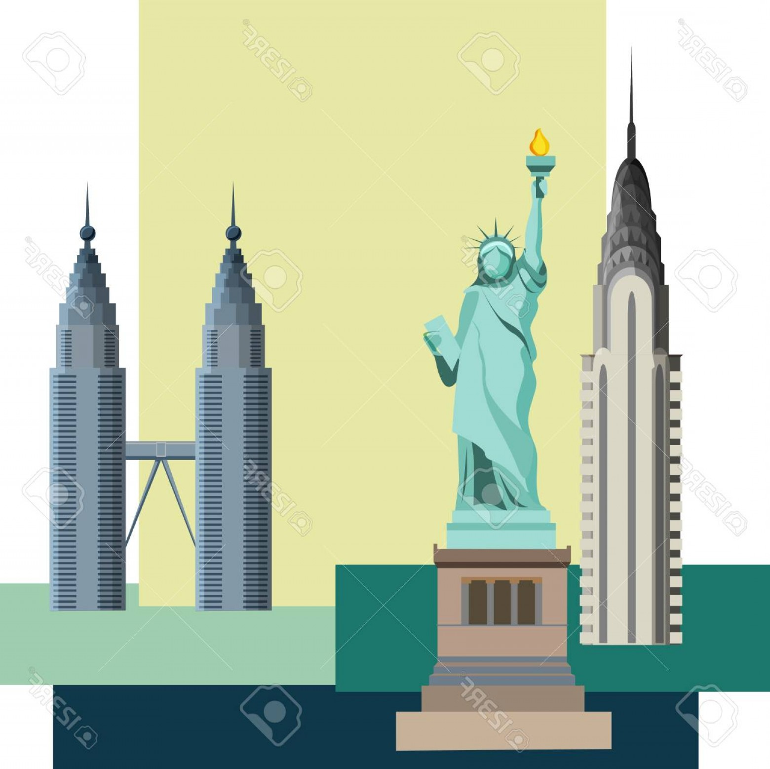 Empire State Vector: Photostock Vector Usa New York Background With Statue Of Liberty And Empire State Building Vector Illustration