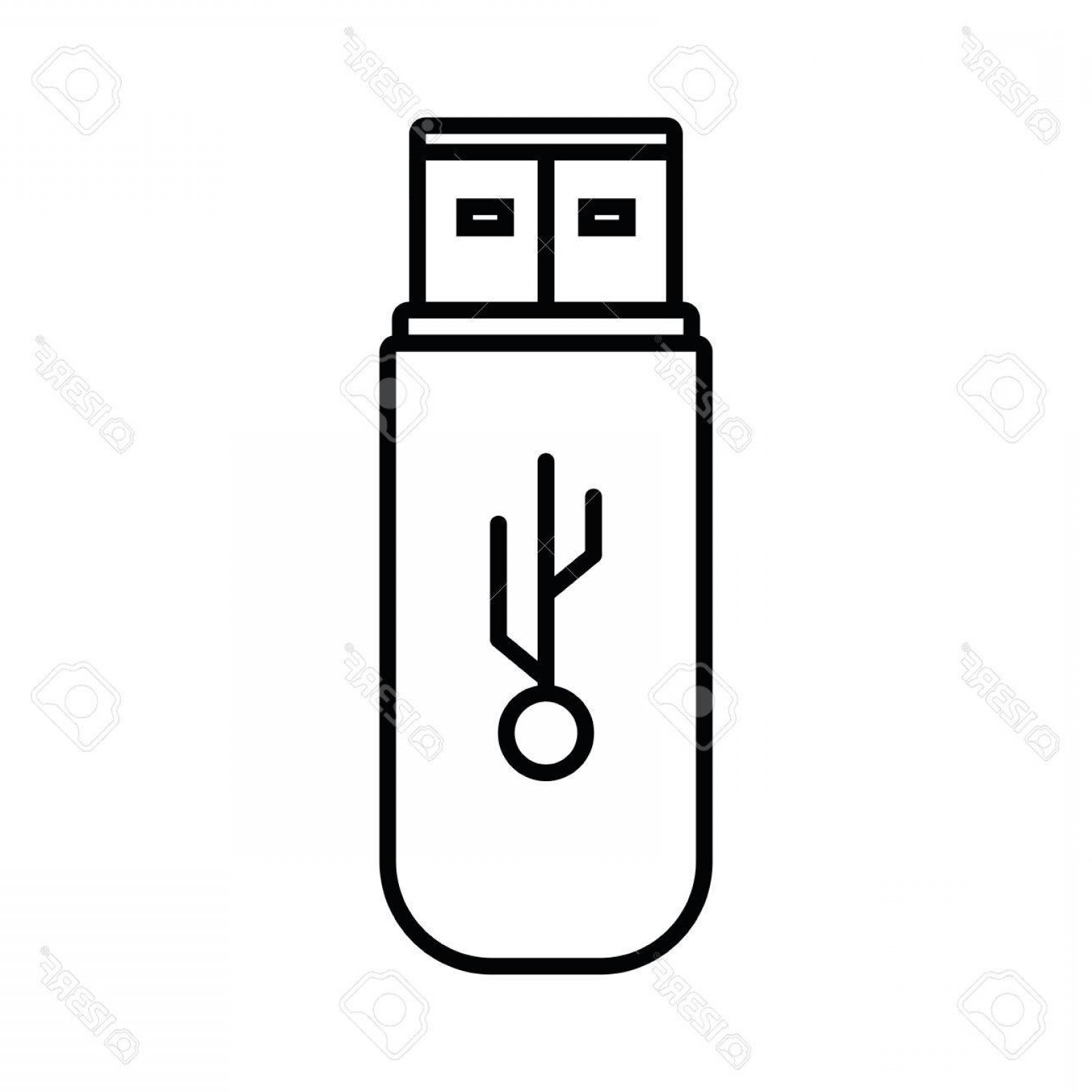 USB Icon Vector: Photostock Vector Usb Memory Storage Isolated Icon Vector Illustration Design