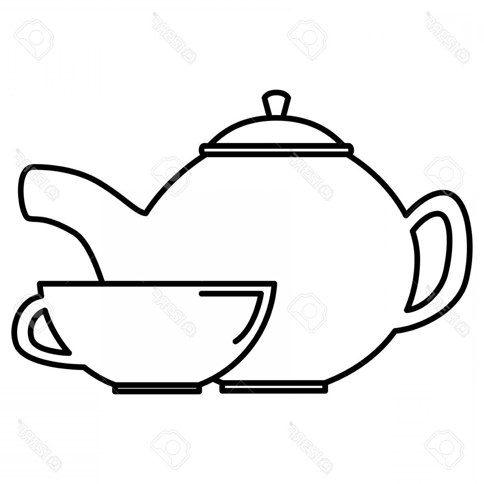 Teapot And Cup Vector: Photostock Vector Utensil Teapot With Cup Vector Illustration Design