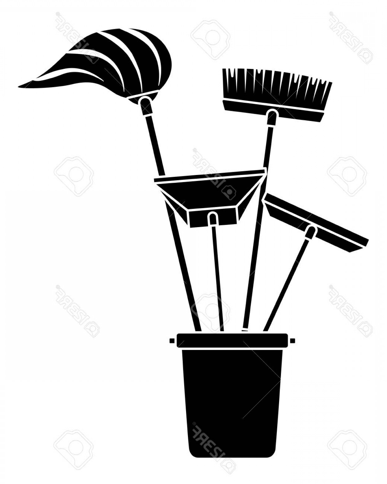 Cleaning Vector Janitorail: Photostock Vector Various Cleaning Objects In A Plastic Bucket For Janitorial Cleaning Tools Vector Illustration Black