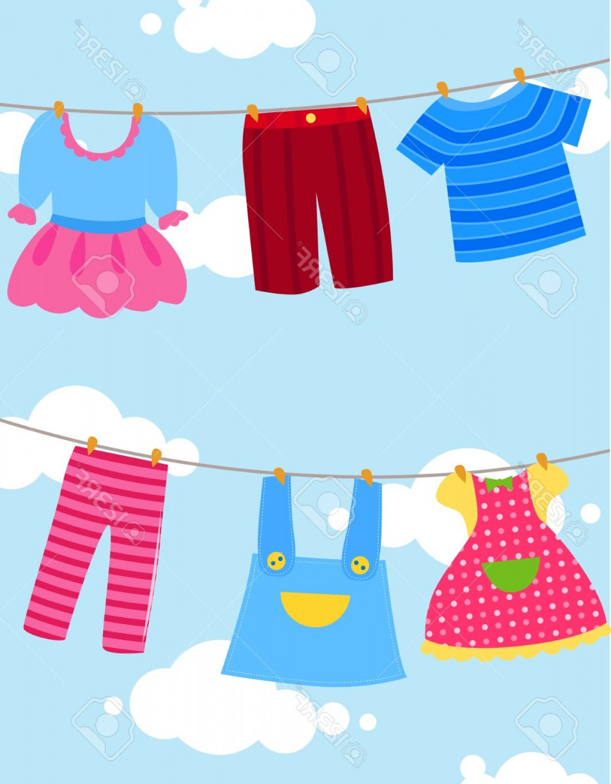 Clothes For Washing Vector: Photostock Vector Various Clothes On Washing Line