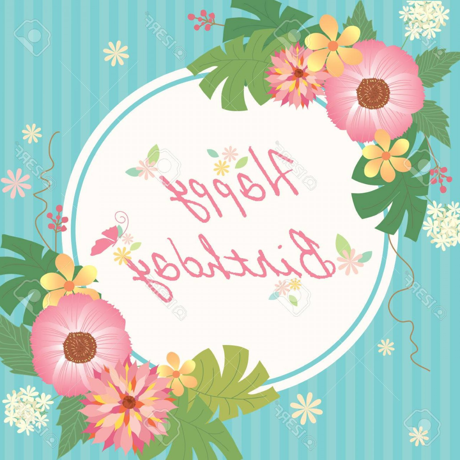 Birthday Card Vector Frame Designs: Photostock Vector Various Of Flowers Decoration With Border Frame For Happy Birthday Card On Aqua Blue With Stripe Bac