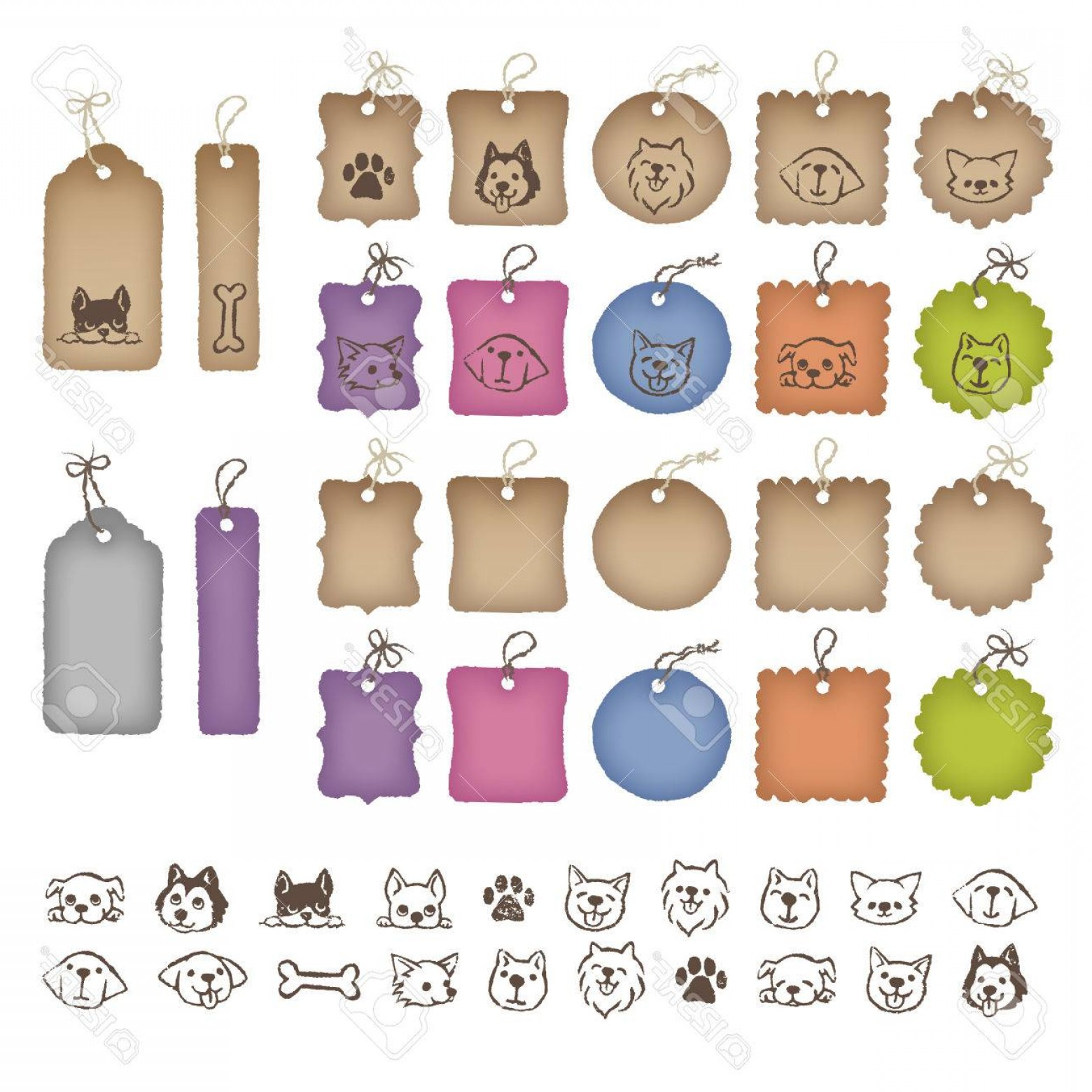 Bone Shaped Dog Tags Vector Art: Photostock Vector Various Shaped Colorful Price Tags And Dog Illustrations
