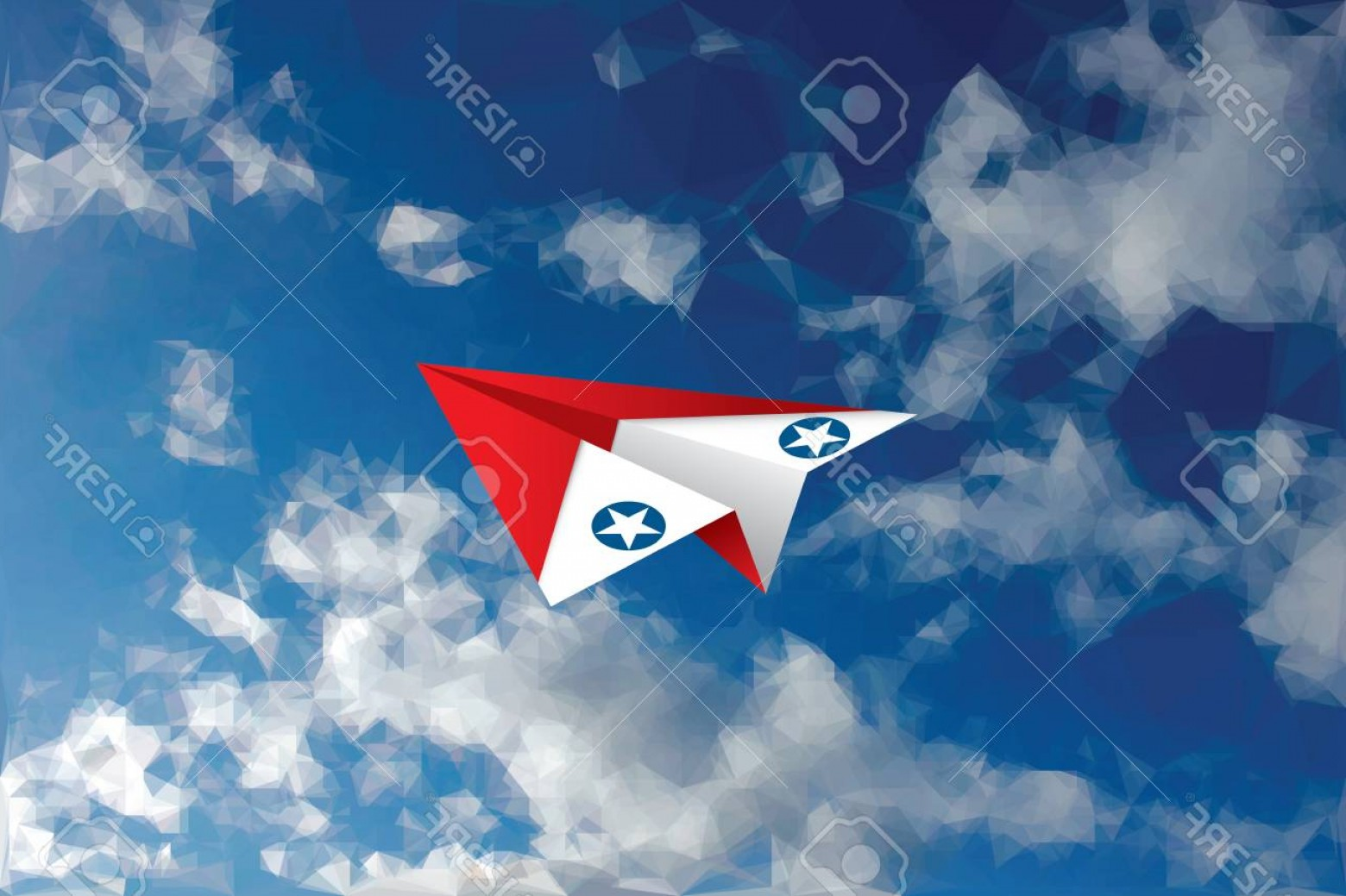 USAF Vector: Photostock Vector Vector Abstract Background With Low Poly Cloudy Sky And Red And White Paper Plane With Usaf Star