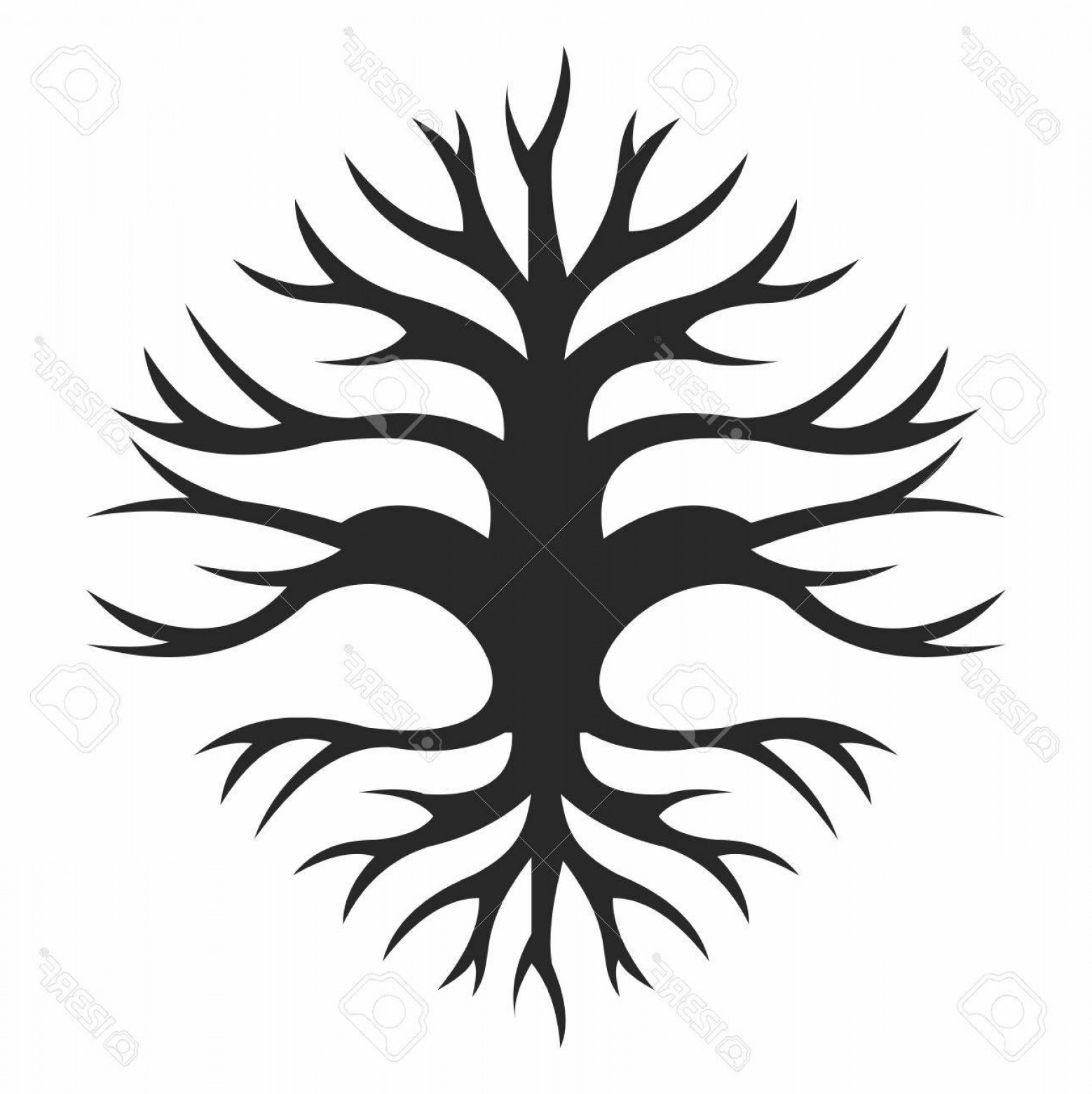Tree Trunk Silhouette Vector: Photostock Vector Vector Abstract Creative Old Wisdom Tree Trunk Silhouette With Branches And Roots Isolated On White