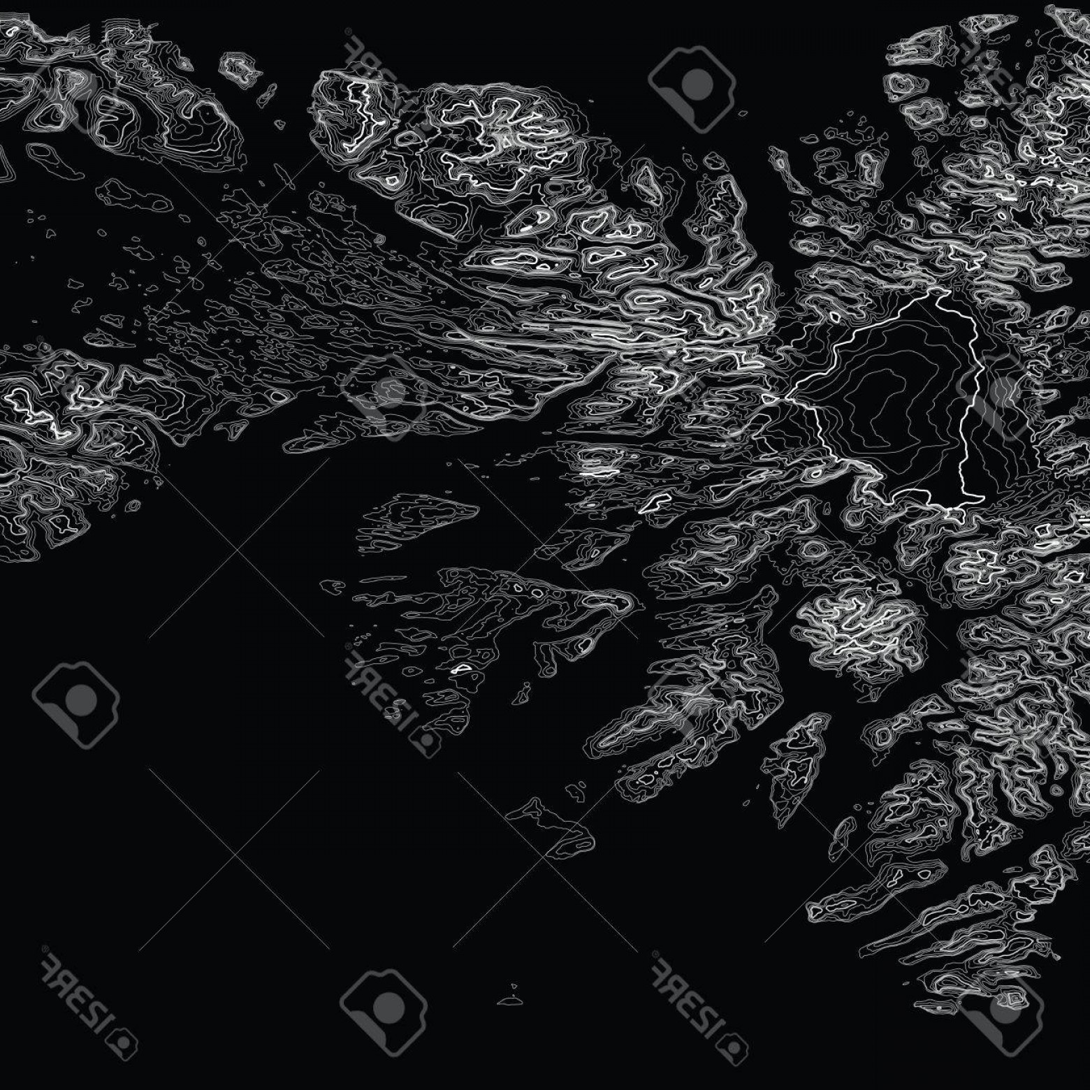 Geographic Leaf Vector: Photostock Vector Vector Abstract Grayscale Earth Relief Map Generated Conceptual Elevation Map Isolines Of Landscape