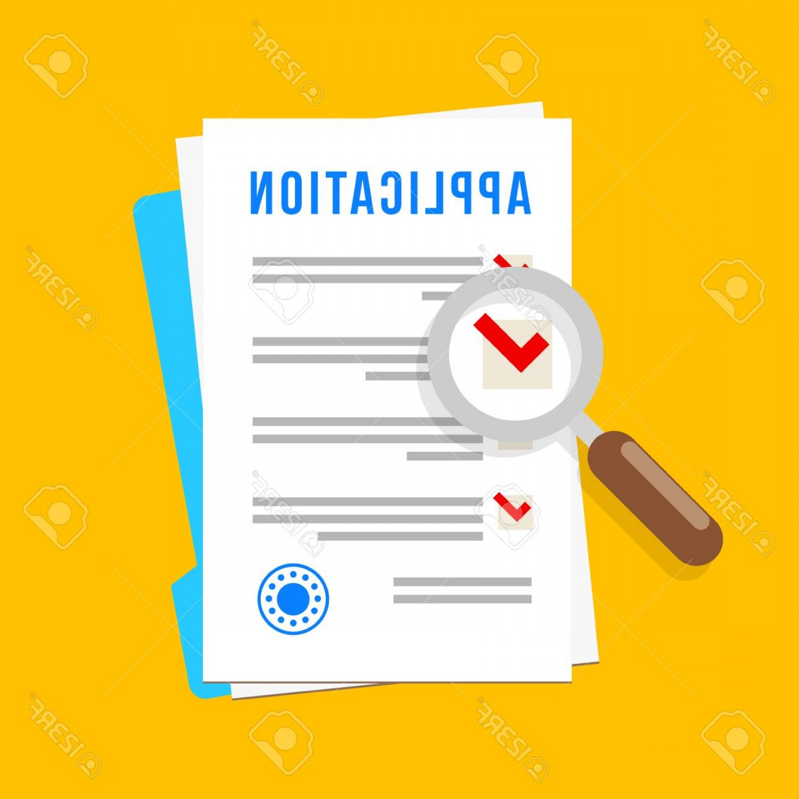 Vector Application Form: Photostock Vector Vector Application Form Documents With Stamp And Magnifying Glass