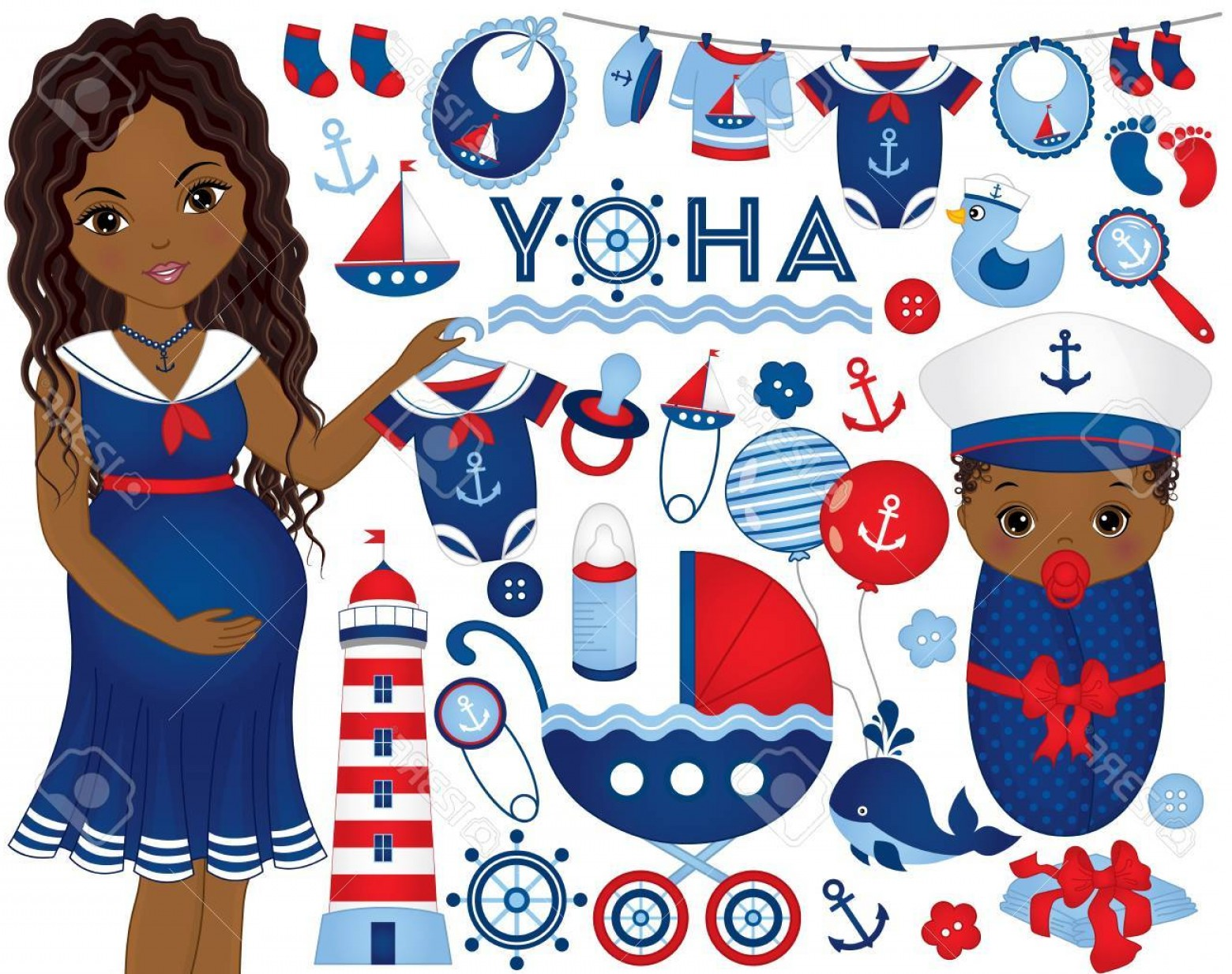 Nautical Vector Art Baby Rattle: Photostock Vector Vector Baby Shower Set In Nautical Style Set Includes African American Pregnant Woman Baby Stroller