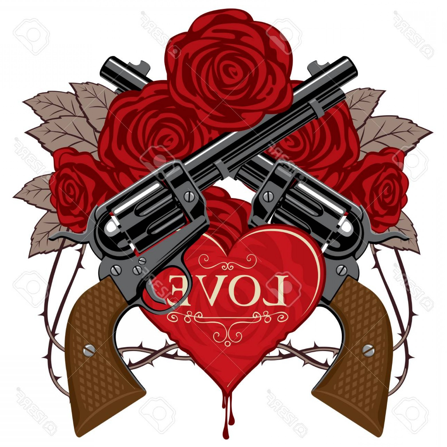 Detroit Red Wings Vector Art: Photostock Vector Vector Banner On Theme Of Love And Death Template Design Illustration With Two Old Crossed Revolvers