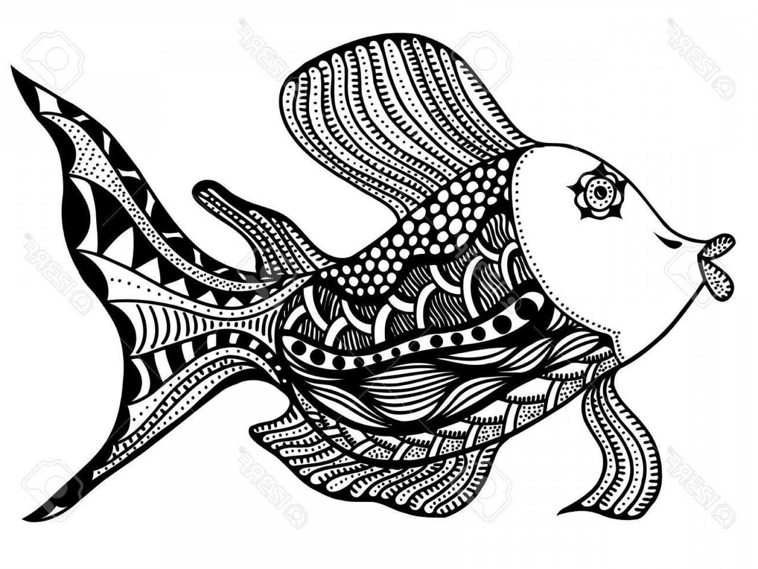 Fish Vector Graphic: Photostock Vector Vector Beautiful Hand Drawn Fish In Graphic Style With Ethnic Geometric Elements
