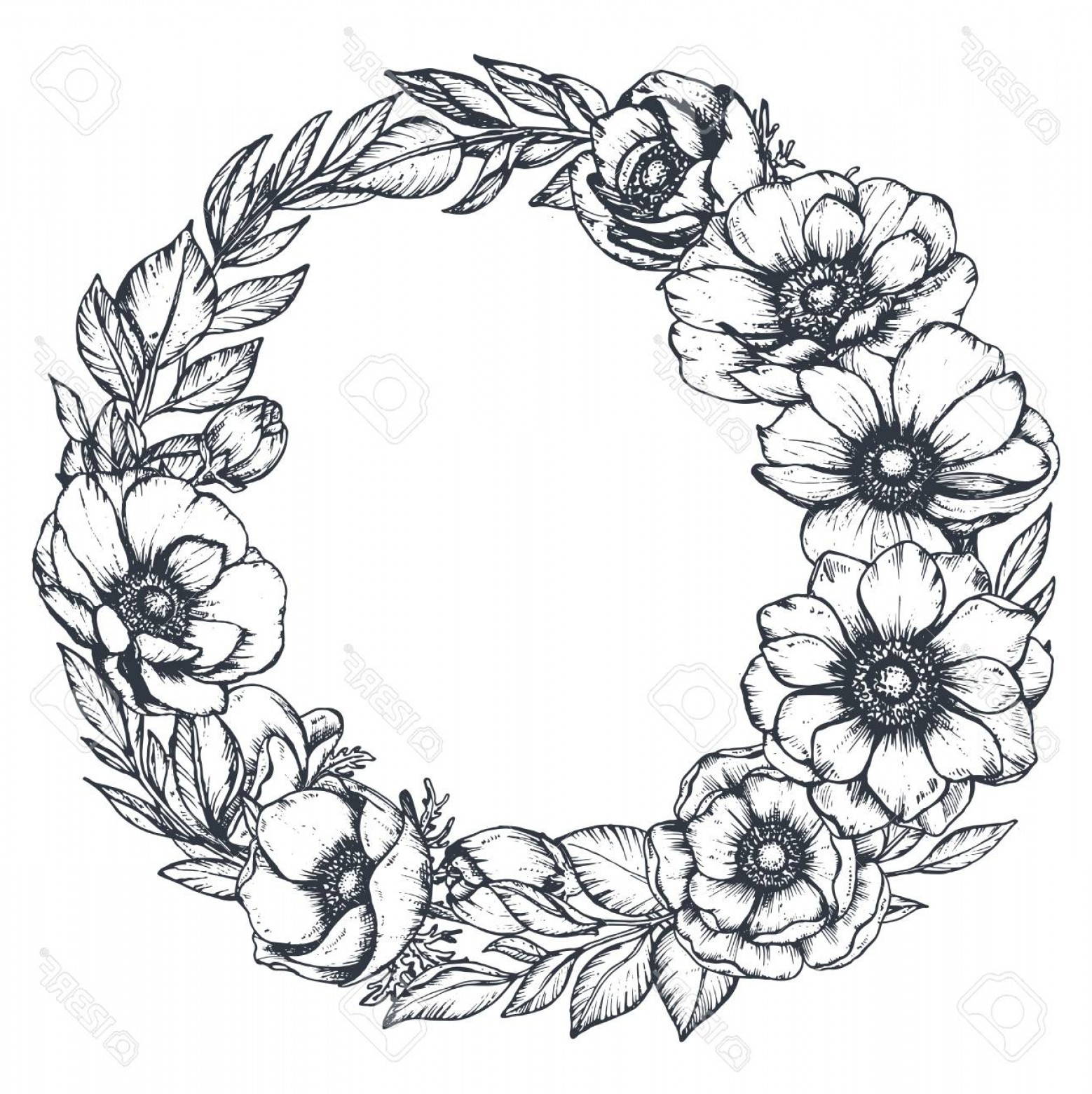 Vector Flower Wreaths In Black: Photostock Vector Vector Black And White Floral Wreath Of Hand Drawn Anemone Flowers