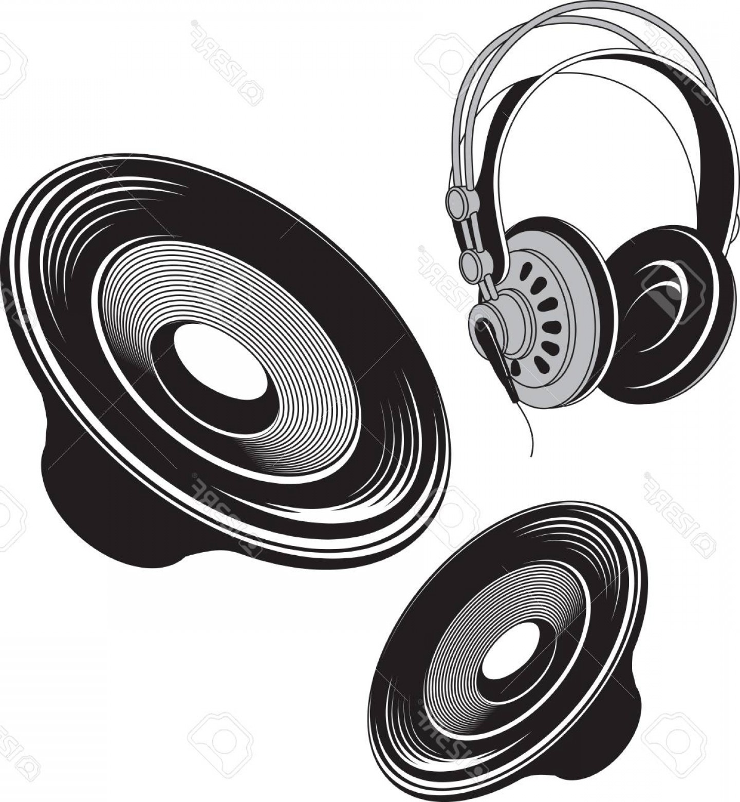 Speakers Vector Black: Photostock Vector Vector Black And White Illustration Of Speakers And Headphones Acoustic Devices