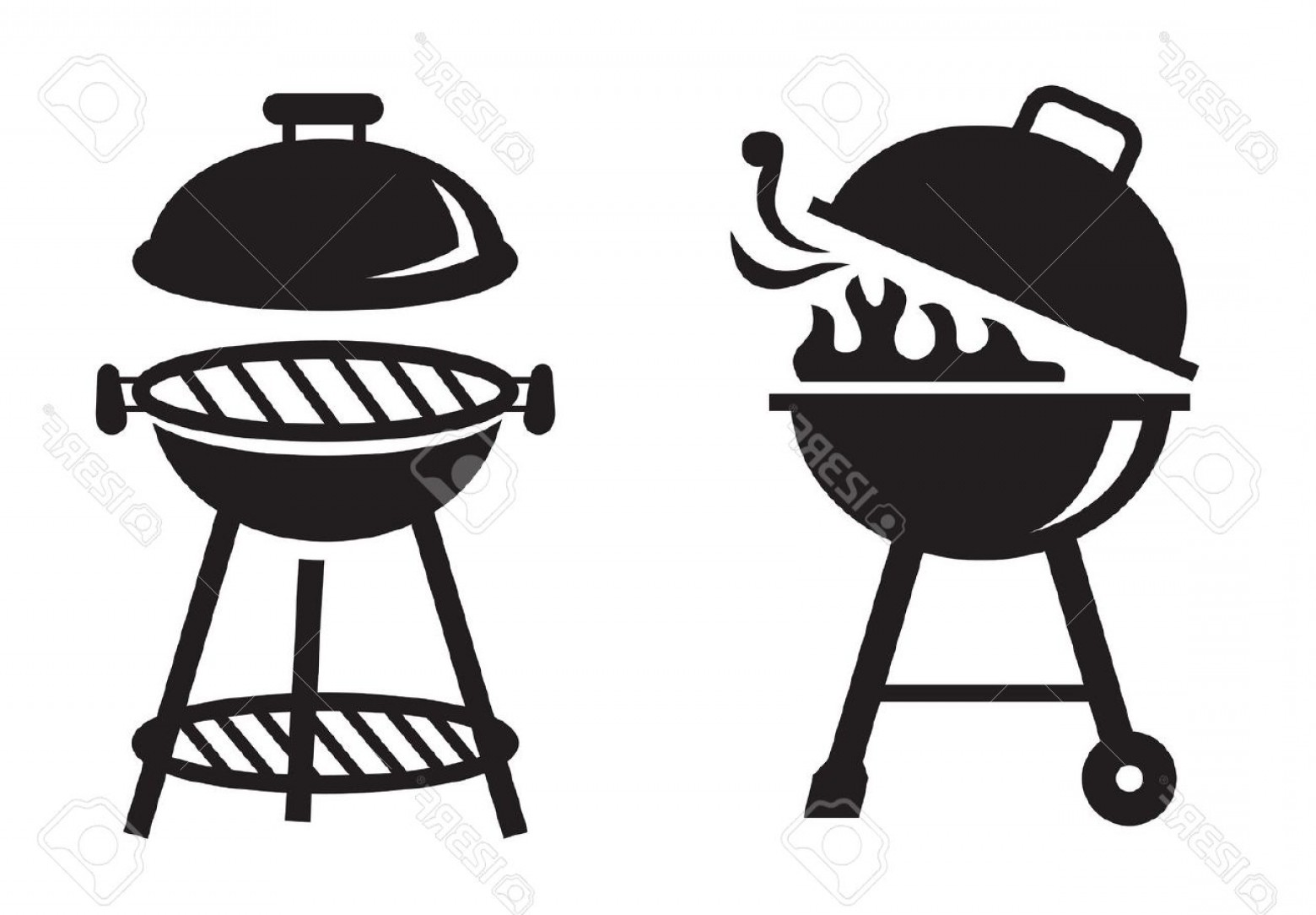 BBQ Grill Vector Black And White: Photostock Vector Vector Black Bbq Grill Icons On White Background