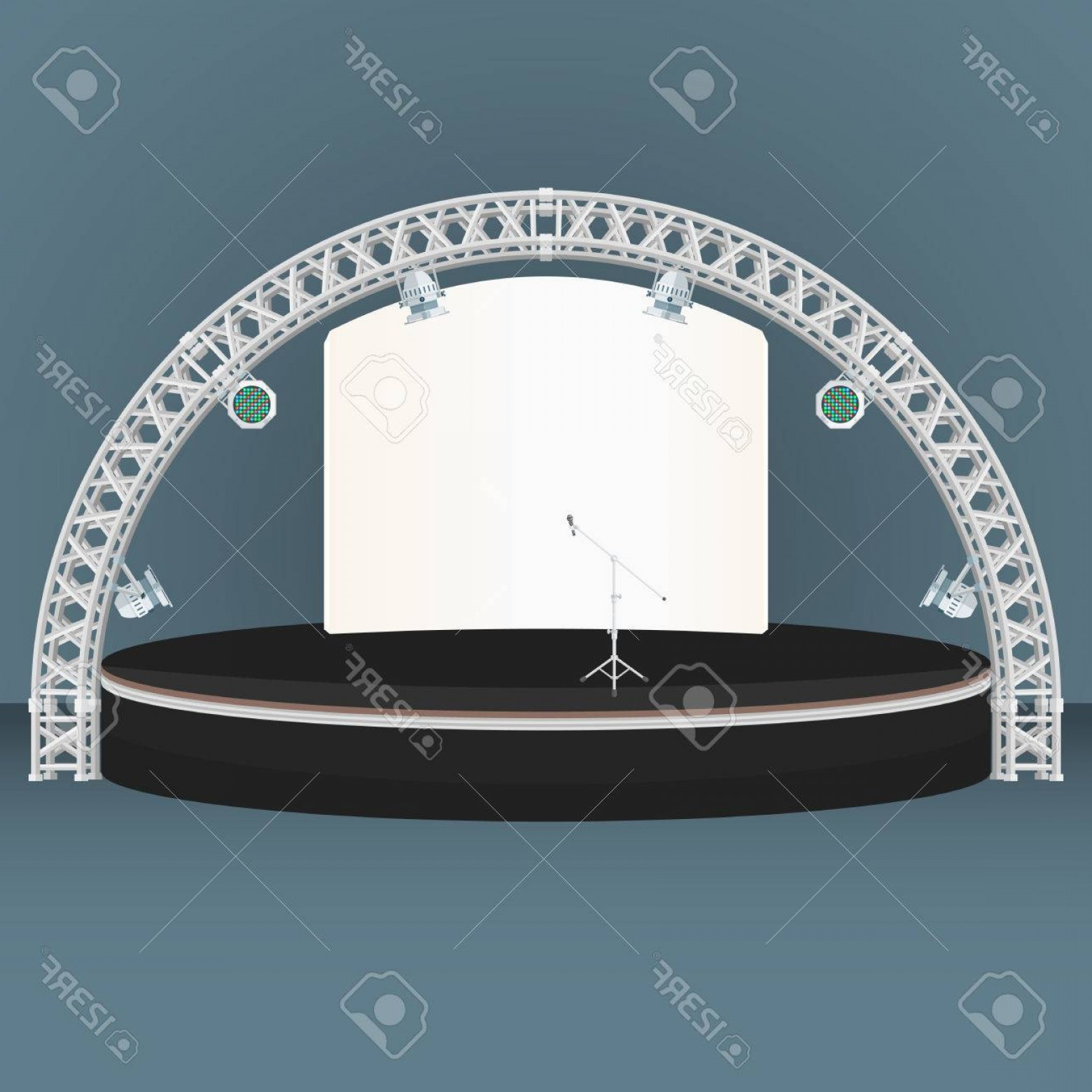 Aluminum Truss Design Vector: Photostock Vector Vector Black Color Flat Design Estrade Rounded Stage Metal Truss Rgb Led Lights Devices Microphone B