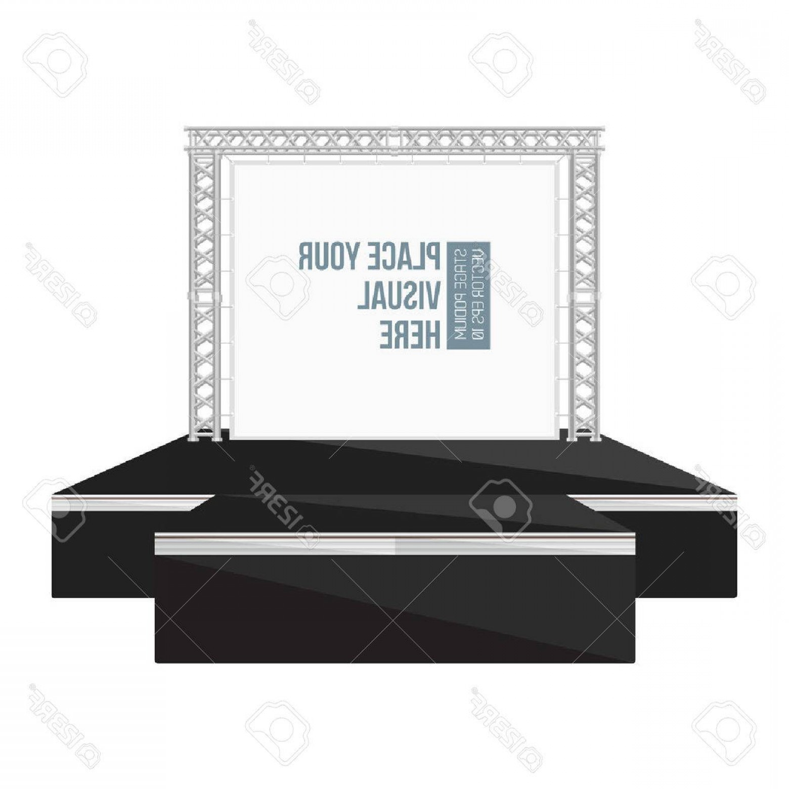 Aluminum Truss Design Vector: Photostock Vector Vector Black Color Flat Style High Podium Stage With Banner On Metal Truss