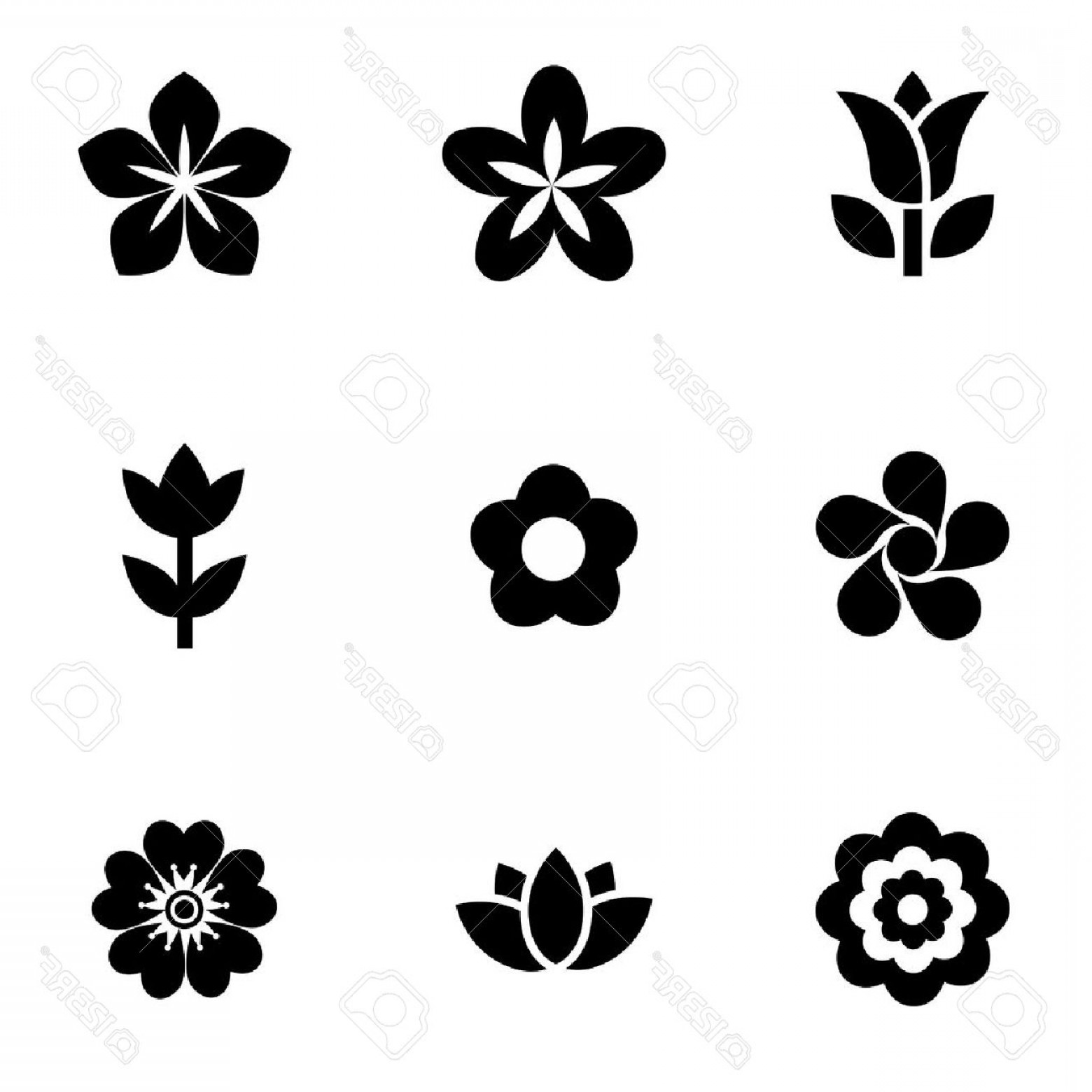 Icon Of Flower Vectors: Photostock Vector Vector Black Flowers Icon Set Flowers Icon Object Flowers Icon Picture Flowers Icon Image Stock Vect