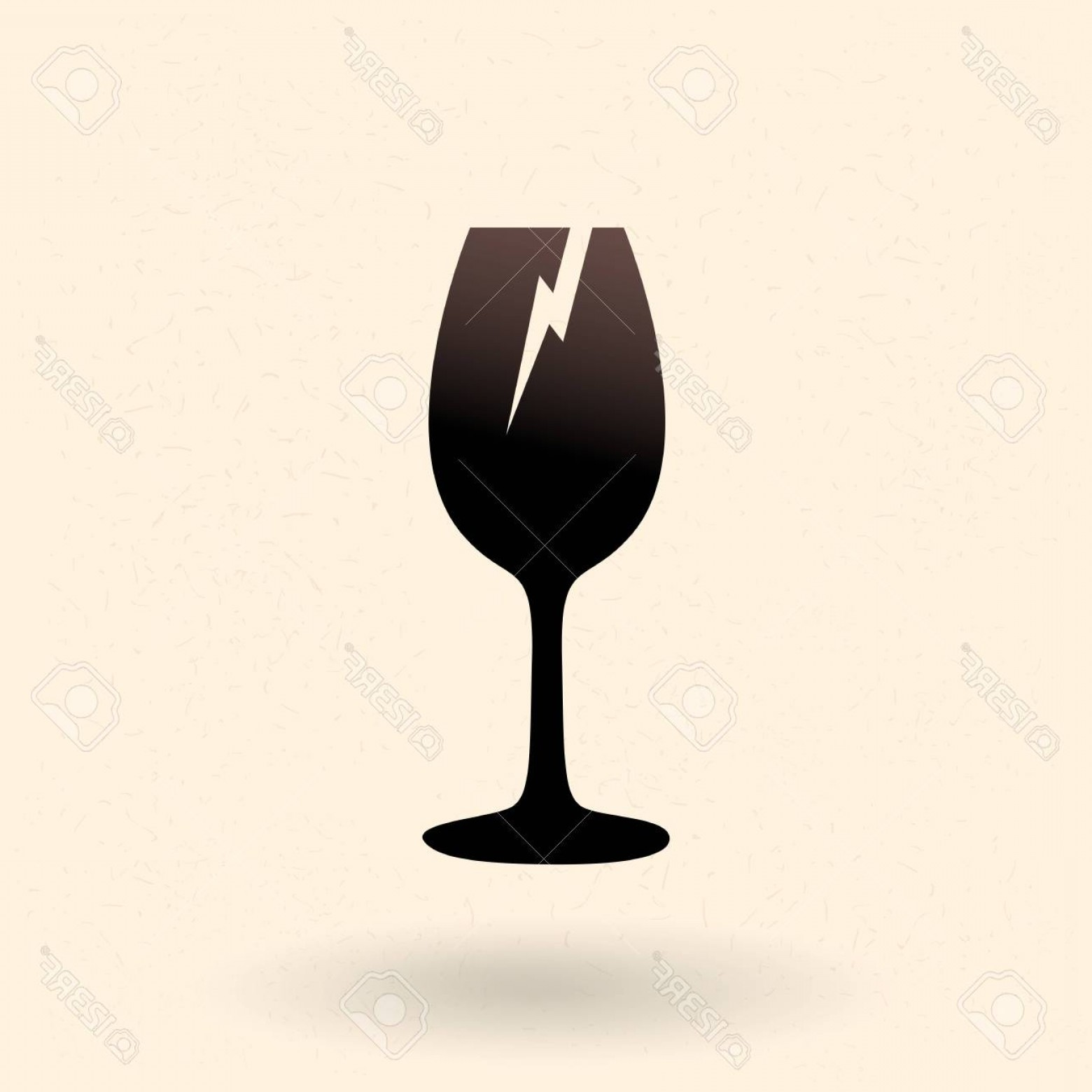 Single Wine Glass Silhouette Vector: Photostock Vector Vector Black Silhouette Icon Broken Wine Glass Sign For Fragile Package