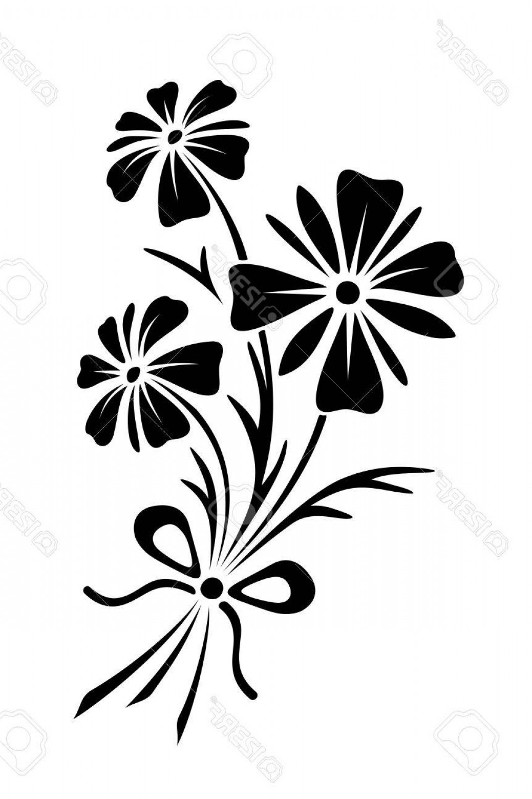 Wildflowers Outline Vector: Photostock Vector Vector Black Silhouette Of Bouquet Of Three Wild Flowers