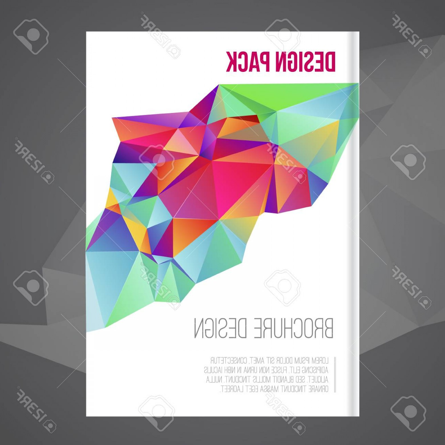 Vector Brochure Cover Designs: Photostock Vector Vector Brochure Cover Design Template With Colorful Abstract Geometric Shape Triangle Background For