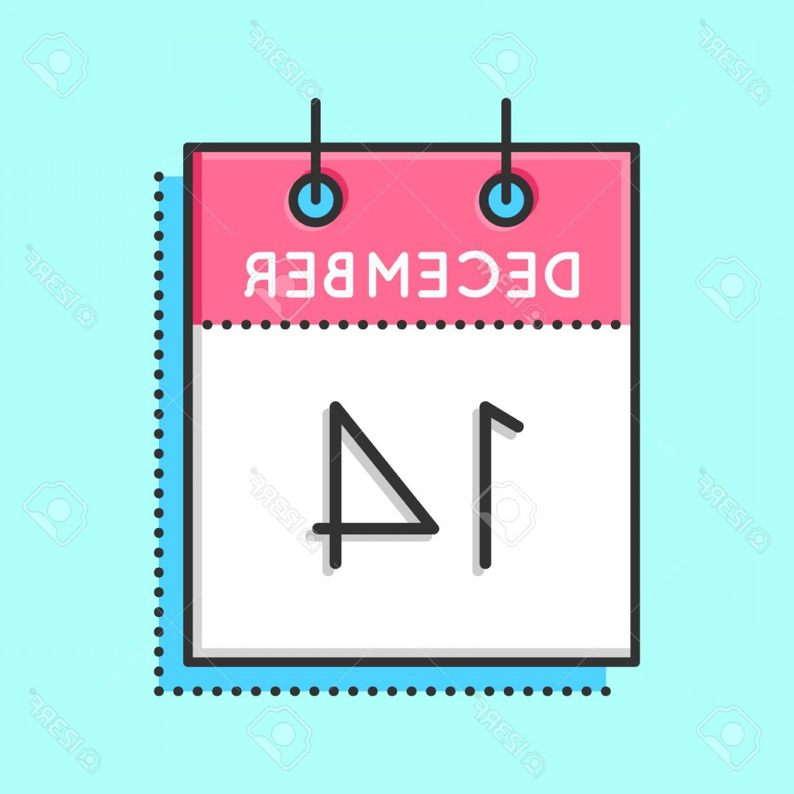 Vector Calendar Icon December 14th: Photostock Vector Vector Calendar Icon Flat And Thin Line Vector Illustration Calendar Sheet On Light Blue Background