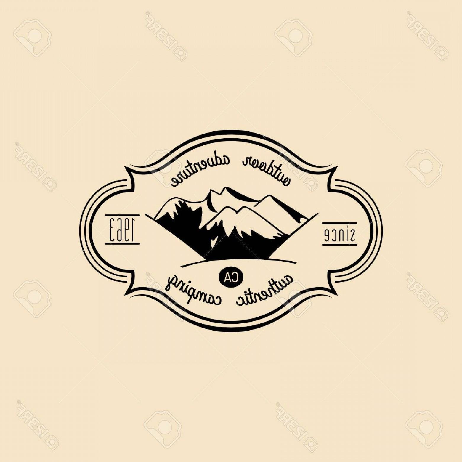Hipster Logo Vectors Mountain: Photostock Vector Vector Camp Logo Tourist Sign With Hand Drawn Mountain Landscape Retro Hipster Badge Label Of Outdoo