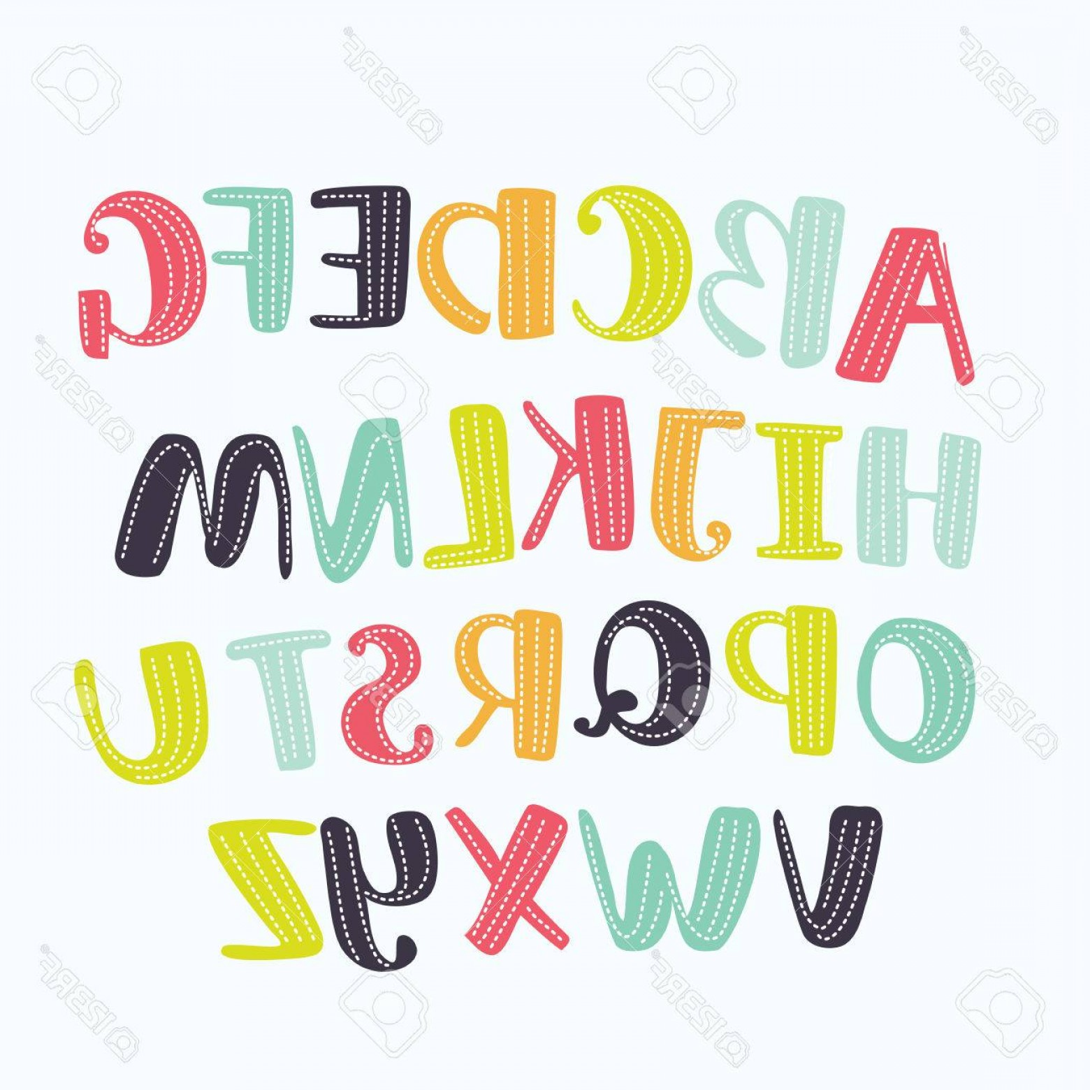 ABC Vectors: Photostock Vector Vector Cartoon Alphabet White Background Upper Letters With Dotted Line Cute Abc Design For Book Cov