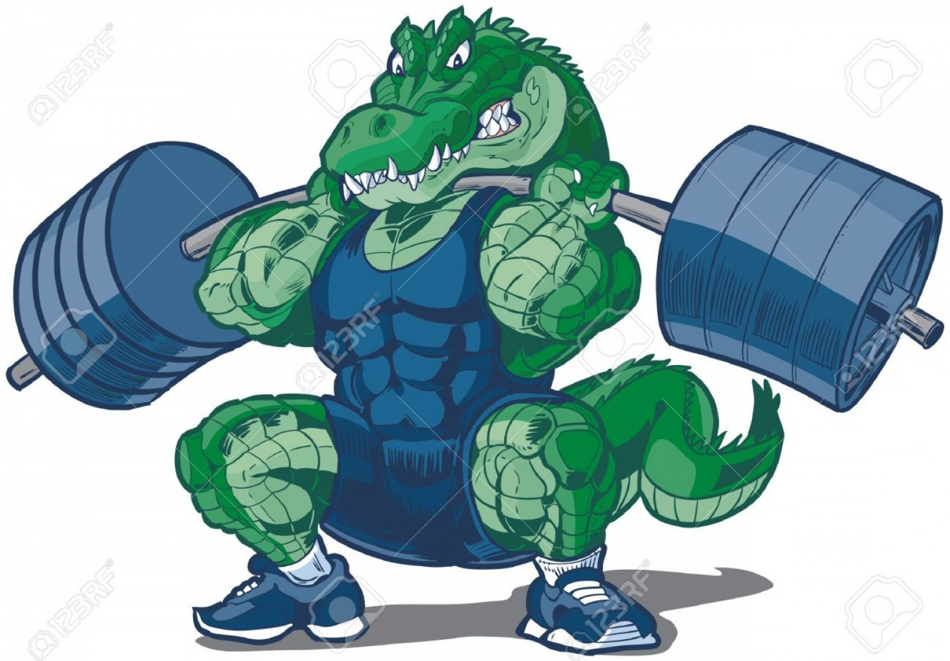 Weight Lifting Vector Graphics: Photostock Vector Vector Cartoon Clip Art Illustration Of A Tough Mean Weightlifting Alligator Or Crocodile Mascot Wea