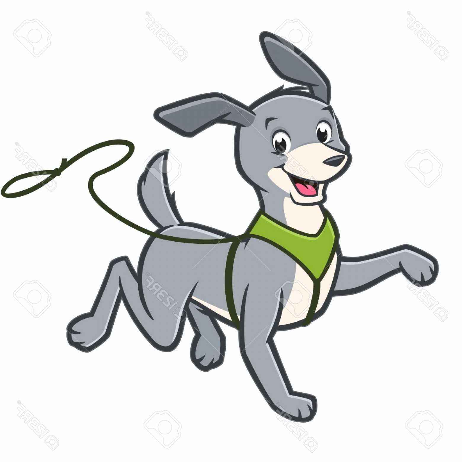 Bpxer Vector Art Happy Dog: Photostock Vector Vector Cartoon Happy Dog Walking On Leash