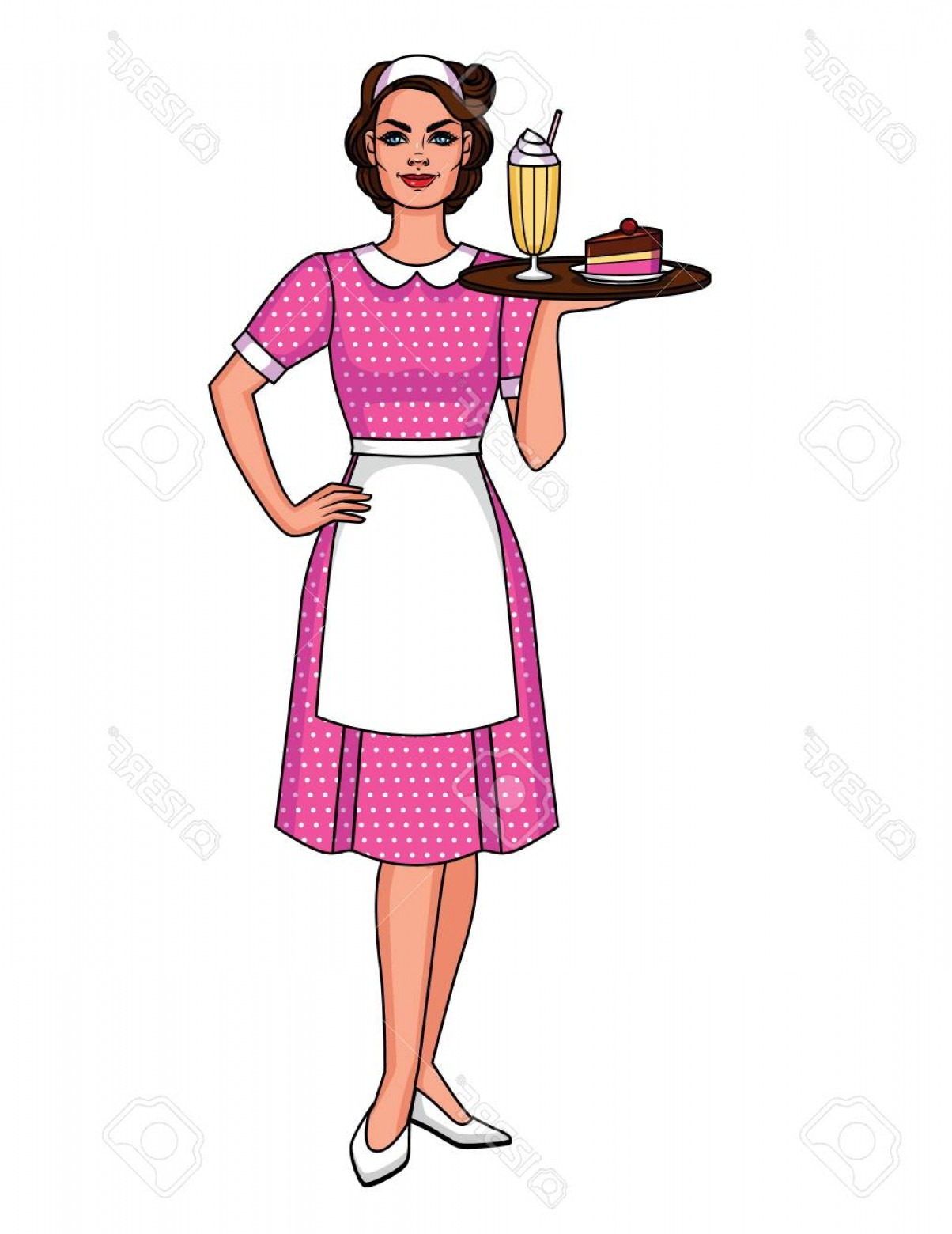 Food Vectors 50 S: Photostock Vector Vector Cartoon Illustration Of A Pretty Cute Waitress With A Tray Food Cute Character From S Of S