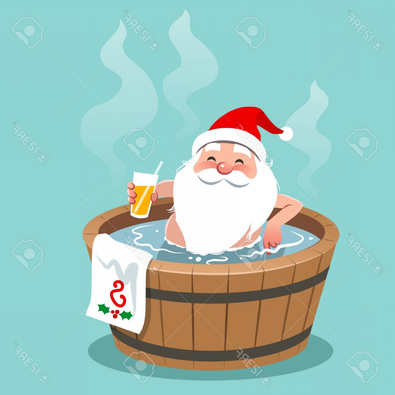 Vector Relaxing Hot Tub: Photostock Vector Vector Cartoon Illustration Of Santa Claus Sitting In A Wooden Barrel Hot Tub Holding Glass Of Orang