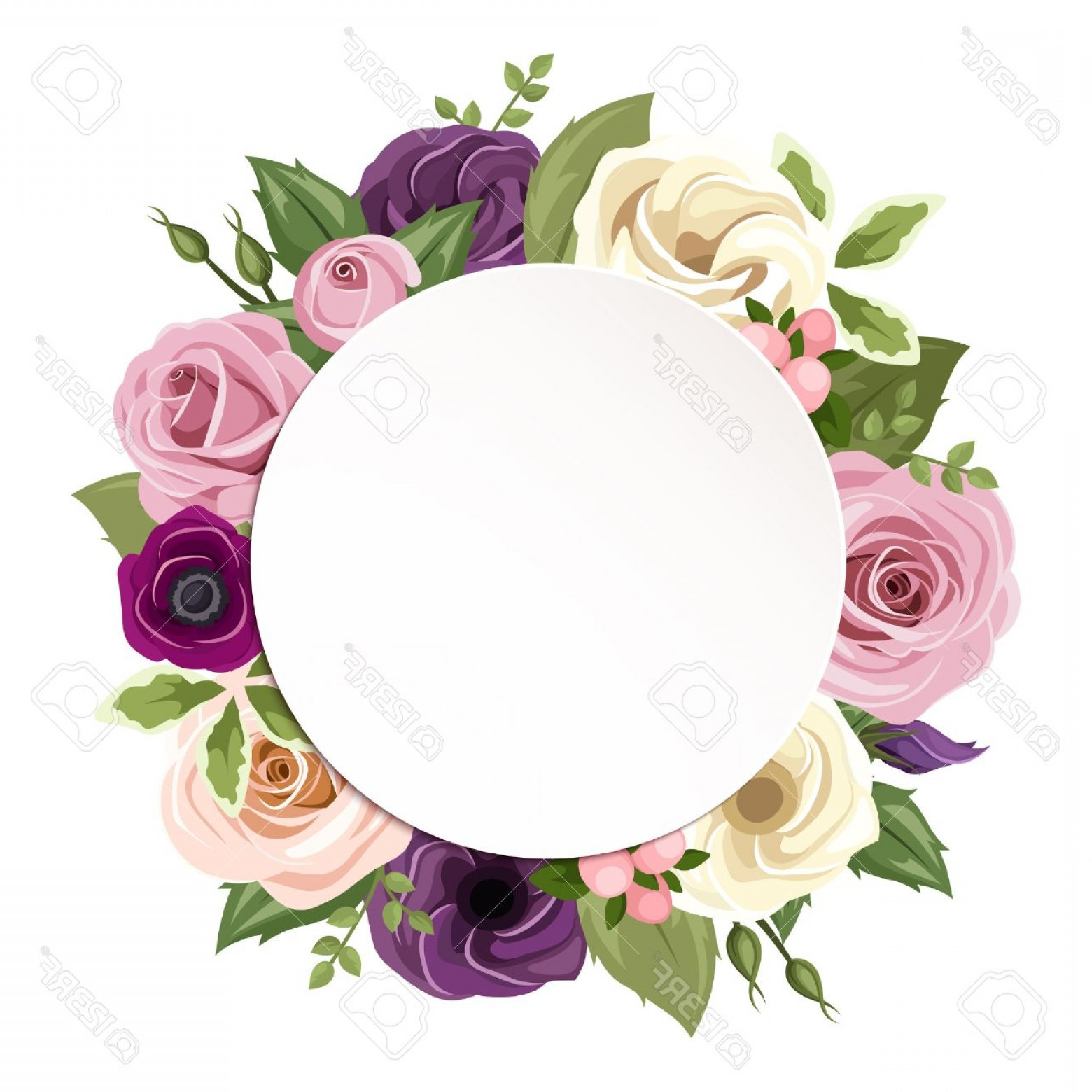 Purple Green And White Vector: Photostock Vector Vector Circle Background With Pink Purple Orange And White Roses Lisianthus And Anemone Flowers And