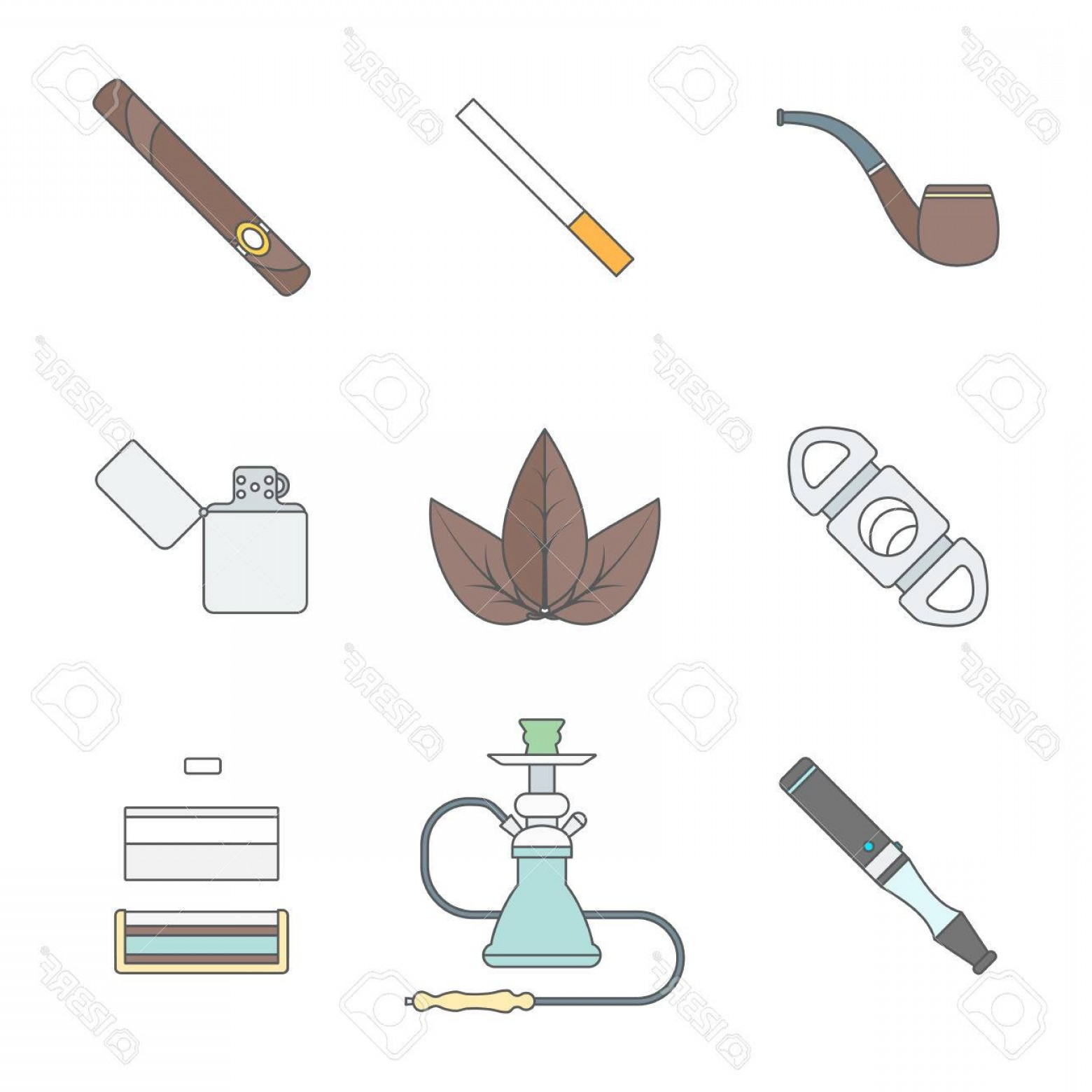 Loose- Leaf Tobacco Vector: Photostock Vector Vector Color Outline Various Tobacco Goods Accessories Icons Set White Background