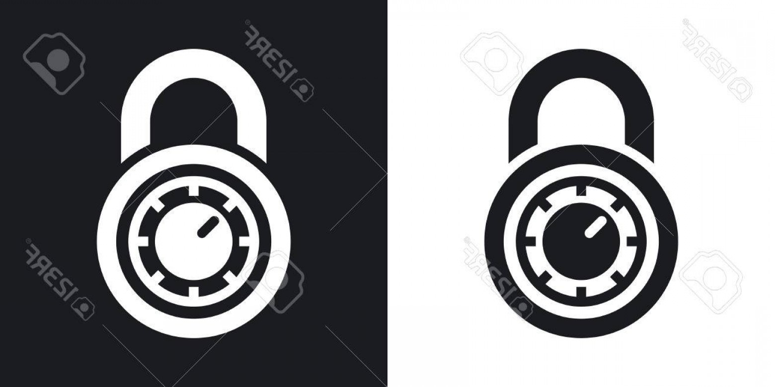 Lock Unlock Icon Vector: Photostock Vector Vector Combination Lock Icon Two Tone Version On Black And White Background