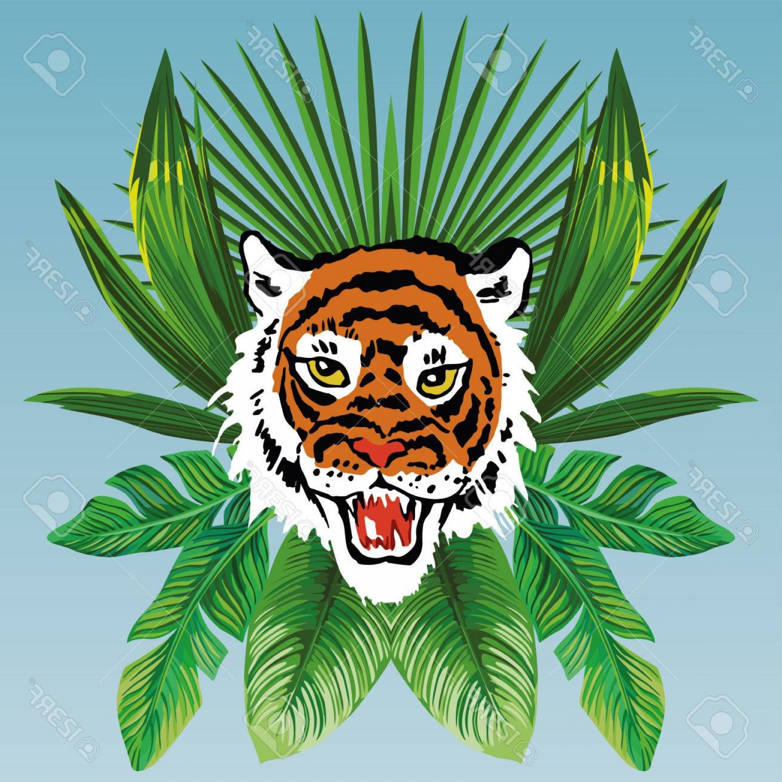 Green Tiger Vector: Photostock Vector Vector Composition Of Tropical Palm Leaves And Angry Isolated Tiger Head On A Blue Background Wallpa