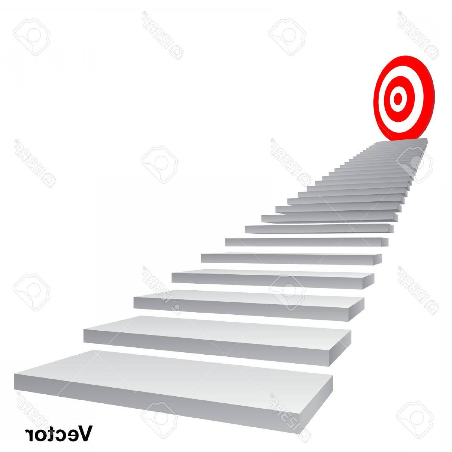 Stair Climb Vector: Photostock Vector Vector Concept Conceptual D Stair Climbing To Leader Chief Or Promotion On Top Red Target Isolated