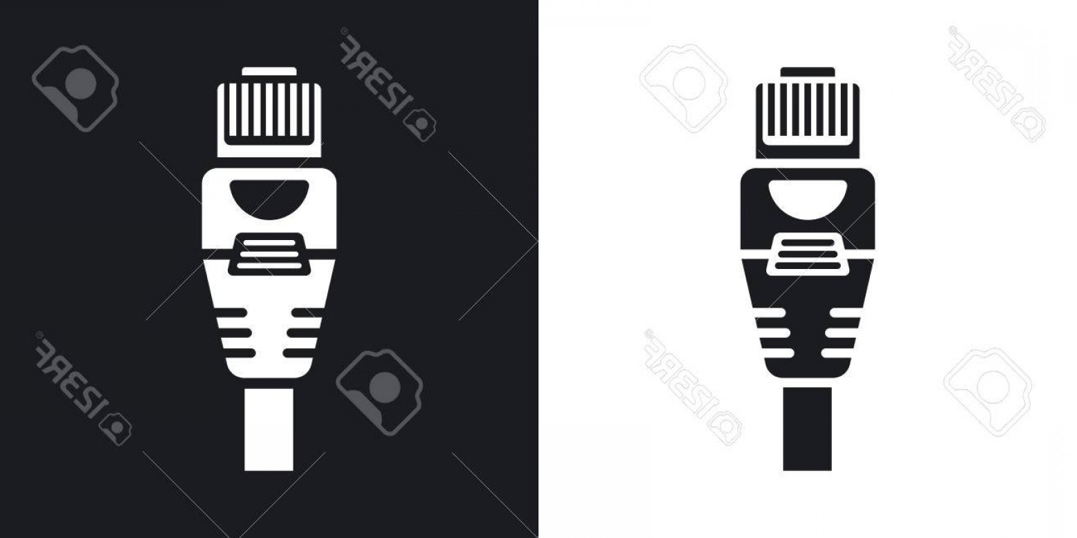 Vector Connector: Photostock Vector Vector Connector With Cable Icon Two Tone Version Of Connector With Cable Simple Icon On Black And W
